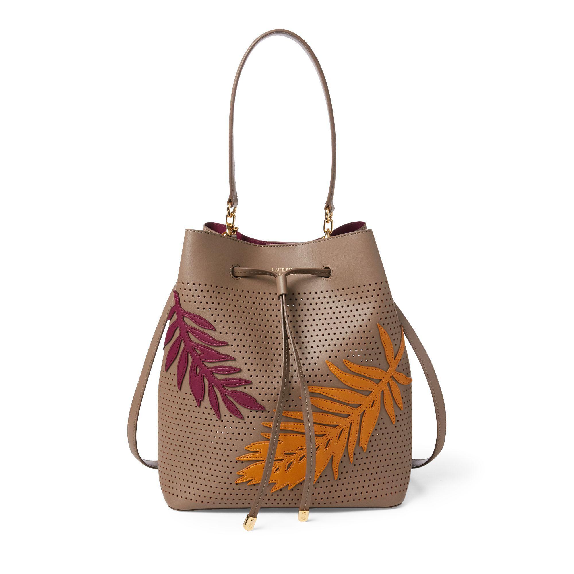 7ae9b1d829c47 Ralph Lauren Leaf Debby Drawstring Bag in Brown - Lyst