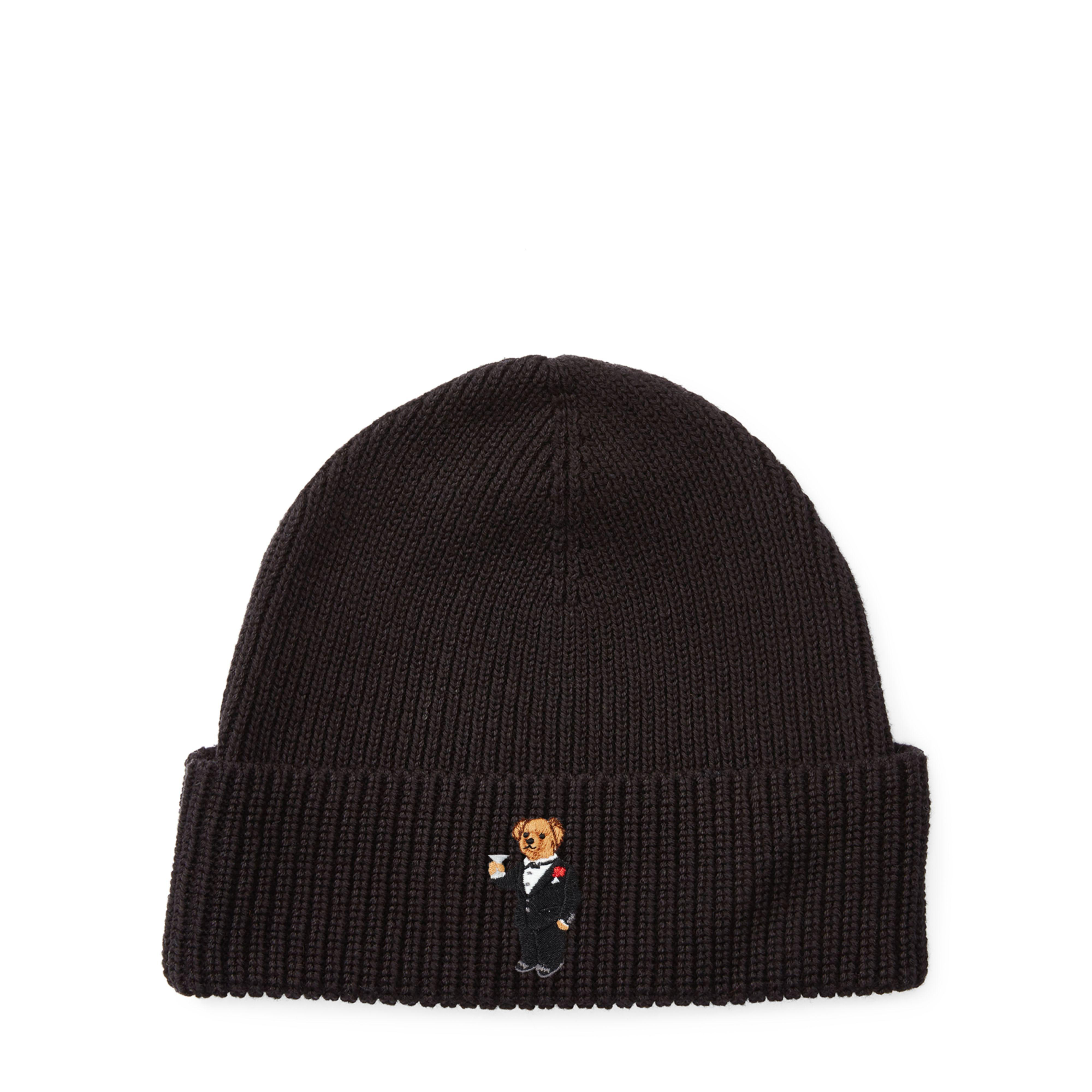 966841604445a Polo Ralph Lauren Martini Polo Bear Ribbed Hat in Black for Men - Lyst