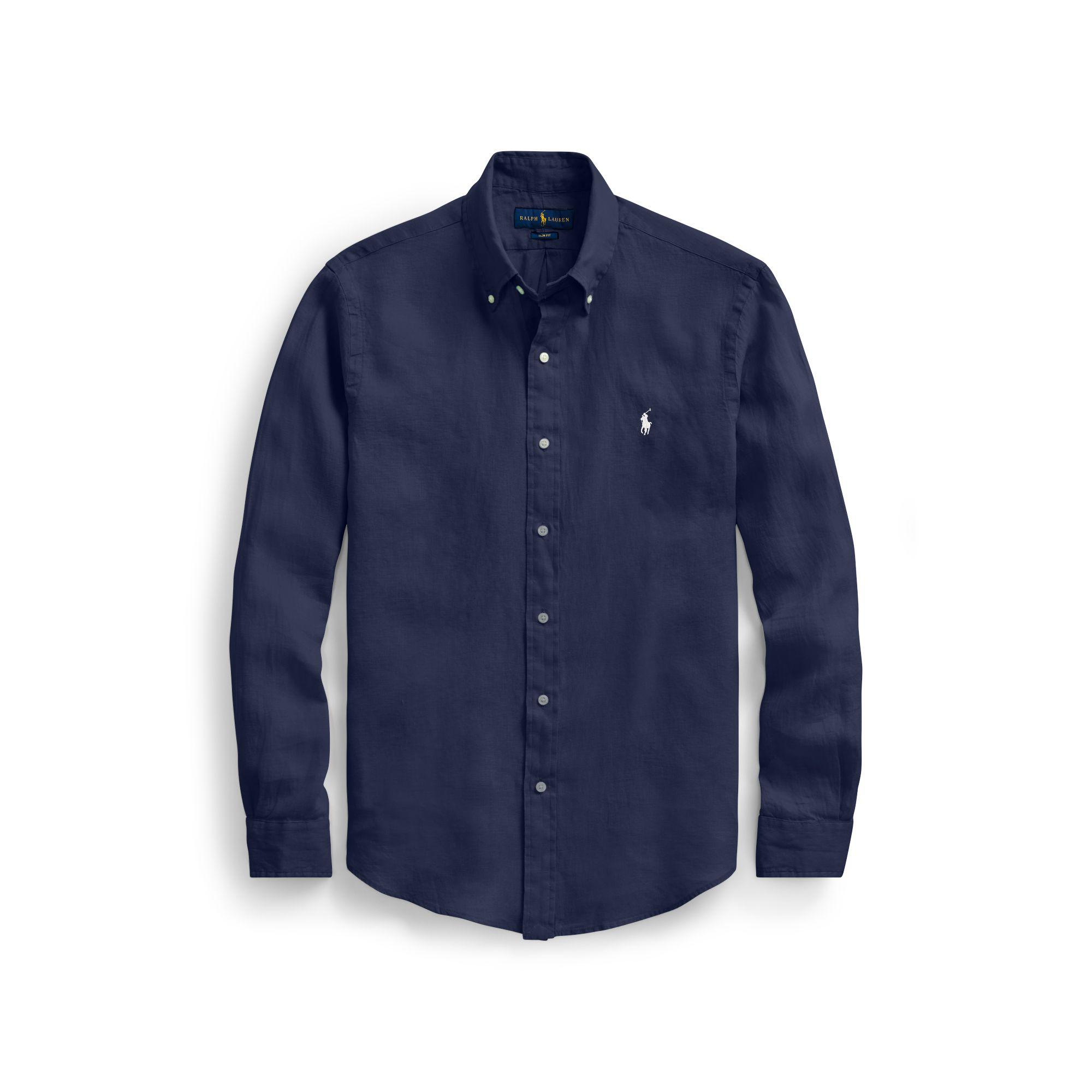 Polo Ralph Lauren Slim Fit Linen Sport Shirt In Blue Lyst