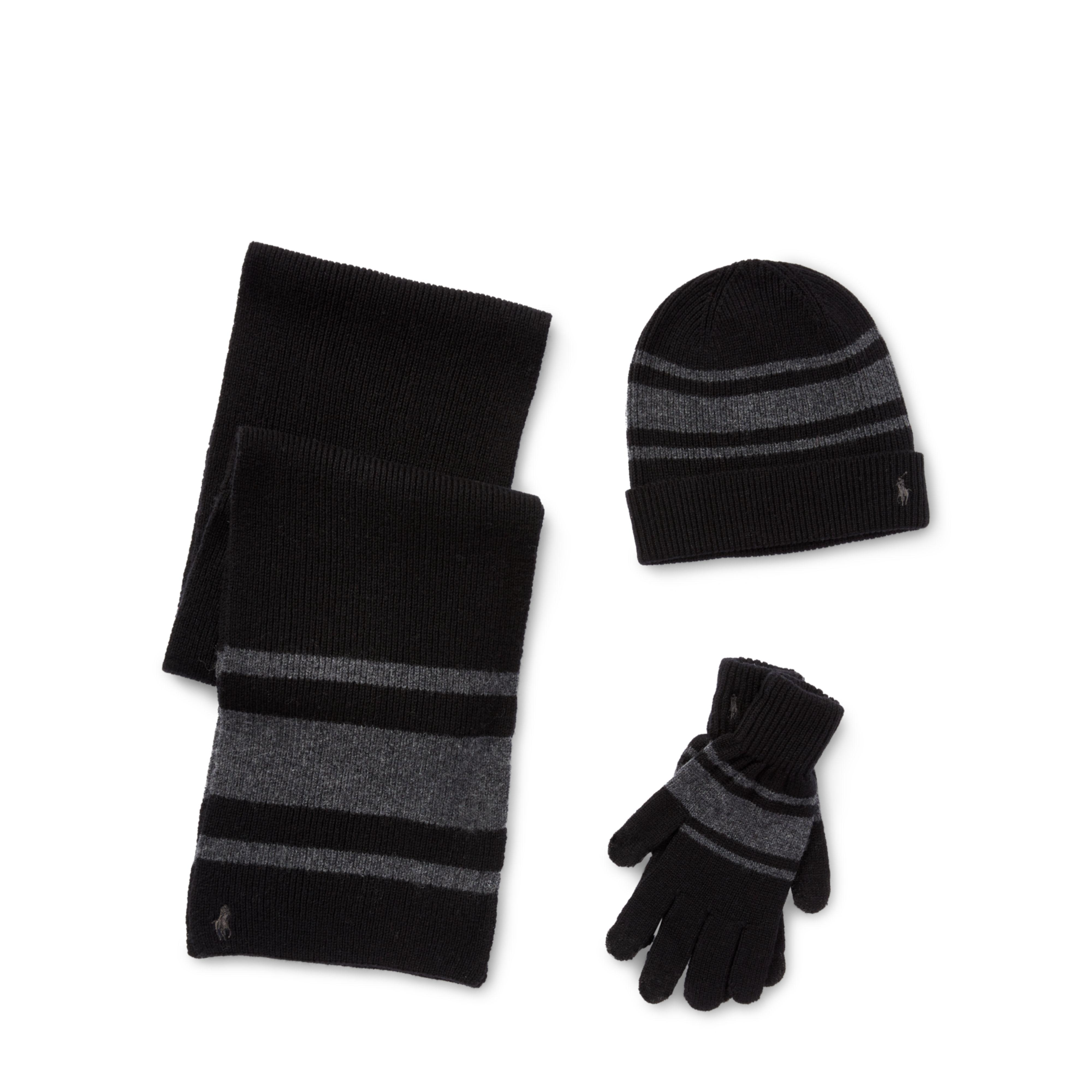 114c42fc29939 ... get lyst polo ralph lauren striped hat scarf glove set in black for men  55a5a a0072
