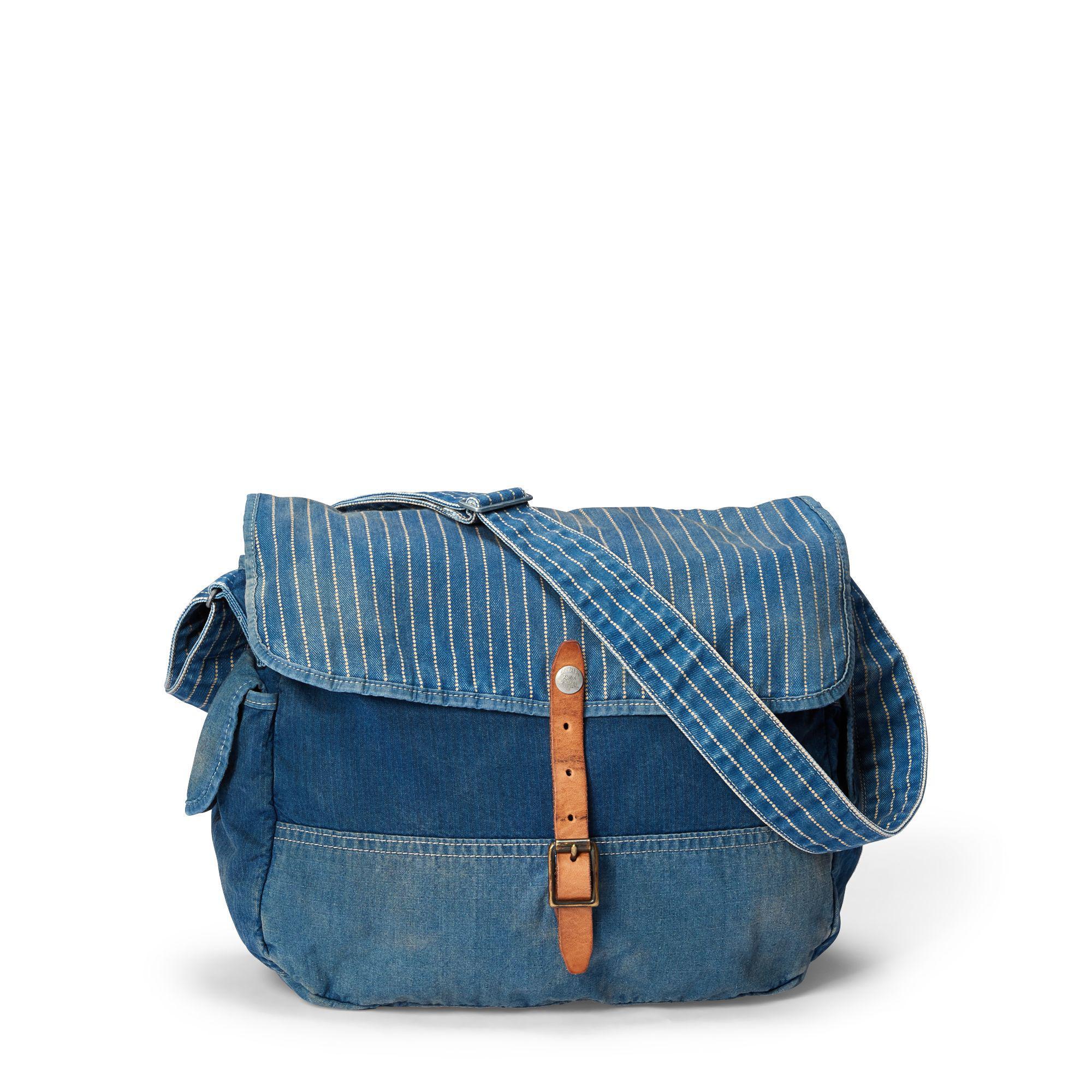 RRL Indigo Patchwork Messenger Bag in Blue for Men - Lyst ad4c75a0c47b8