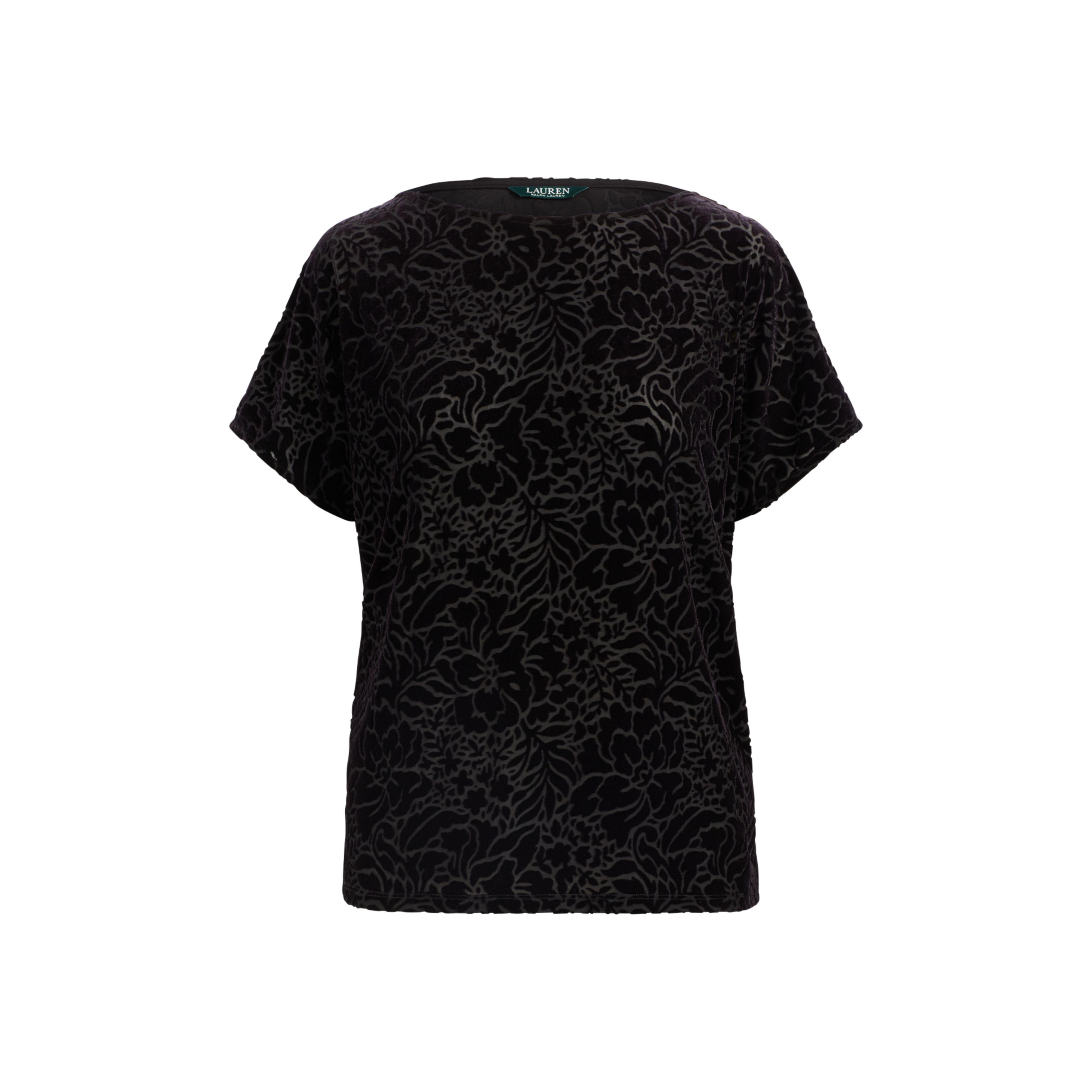 dbeef957d02 Lyst - Ralph Lauren Floral Burn-out Velvet Top in Black