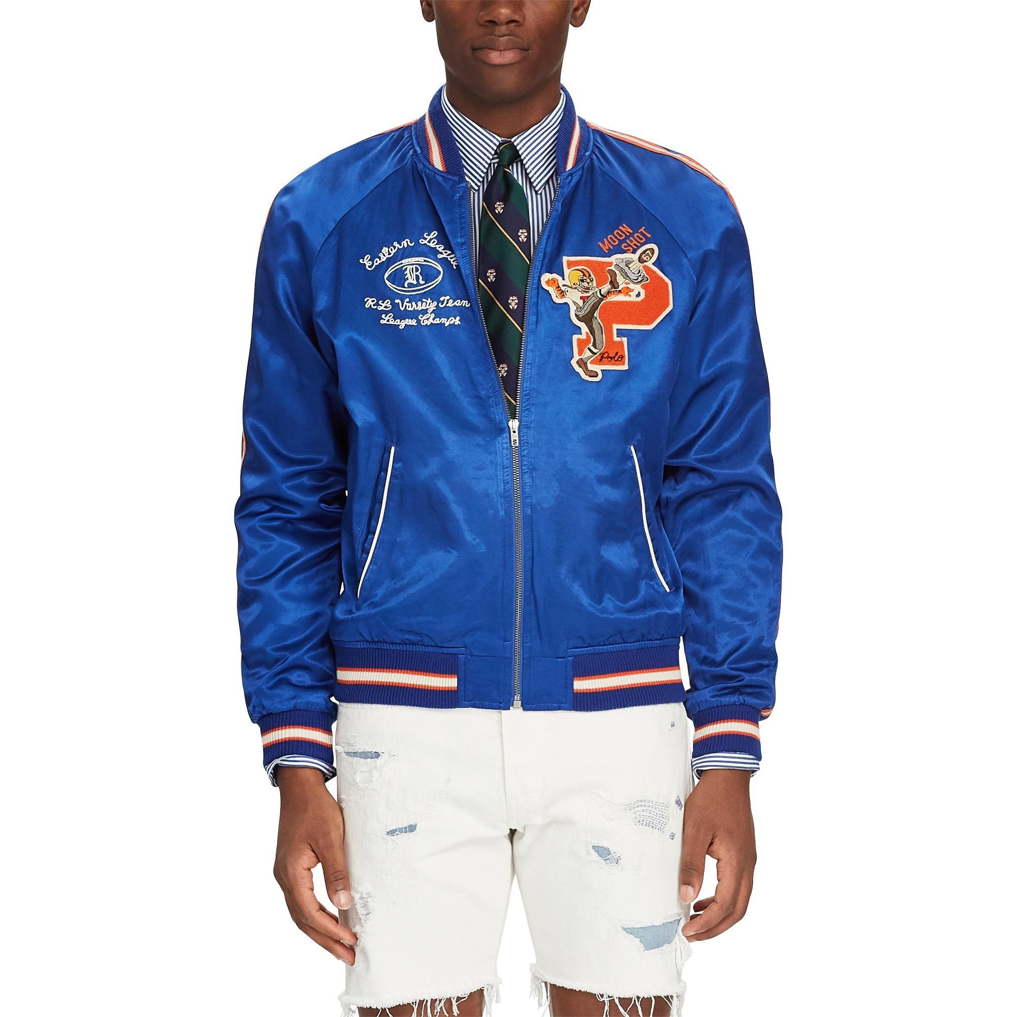 9266b271bd6 Polo Ralph Lauren Satin Souvenir Baseball Jacket in Blue for Men ...