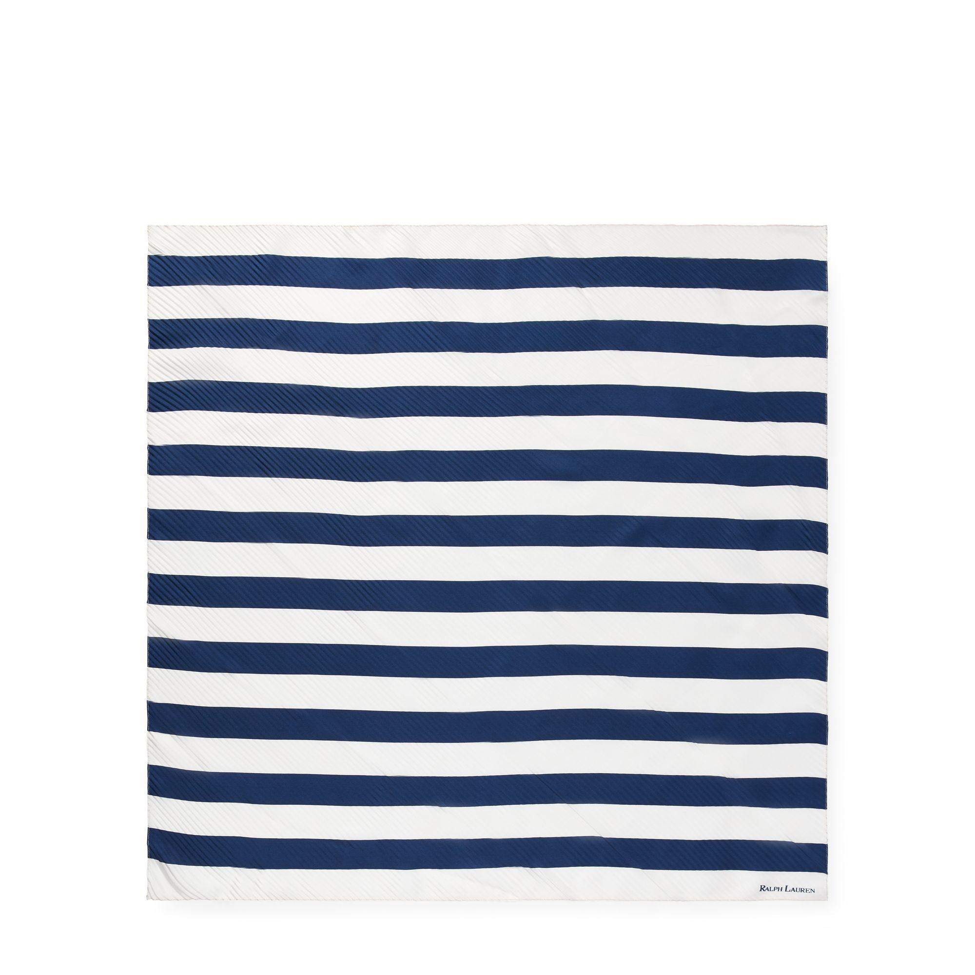 Polo Ralph Lauren - Blue Pleated Striped Silk Scarf - Lyst. View fullscreen 9c2e70bd4fb
