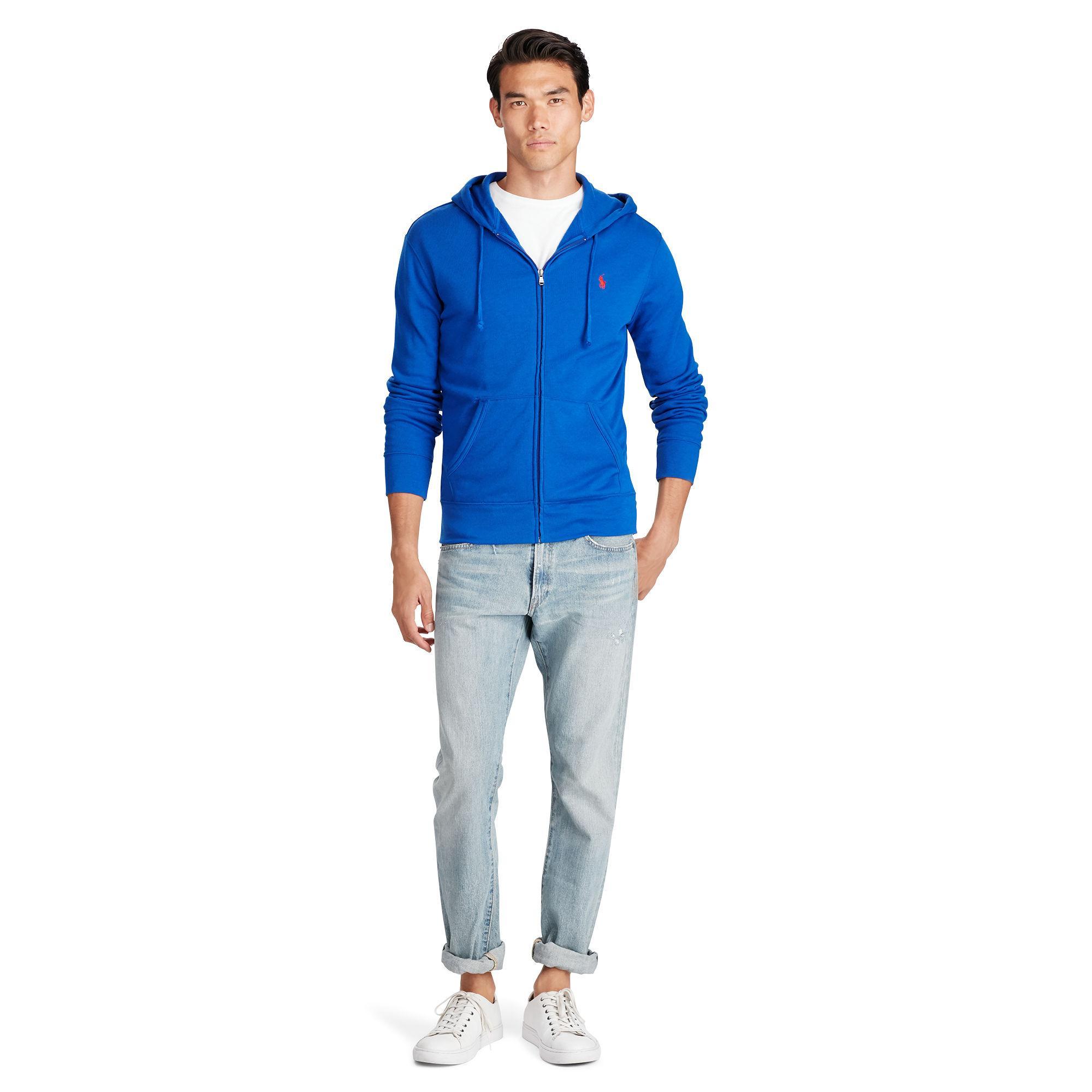 polo ralph lauren french terry zip hoodie sweatshirt in blue for men lyst. Black Bedroom Furniture Sets. Home Design Ideas