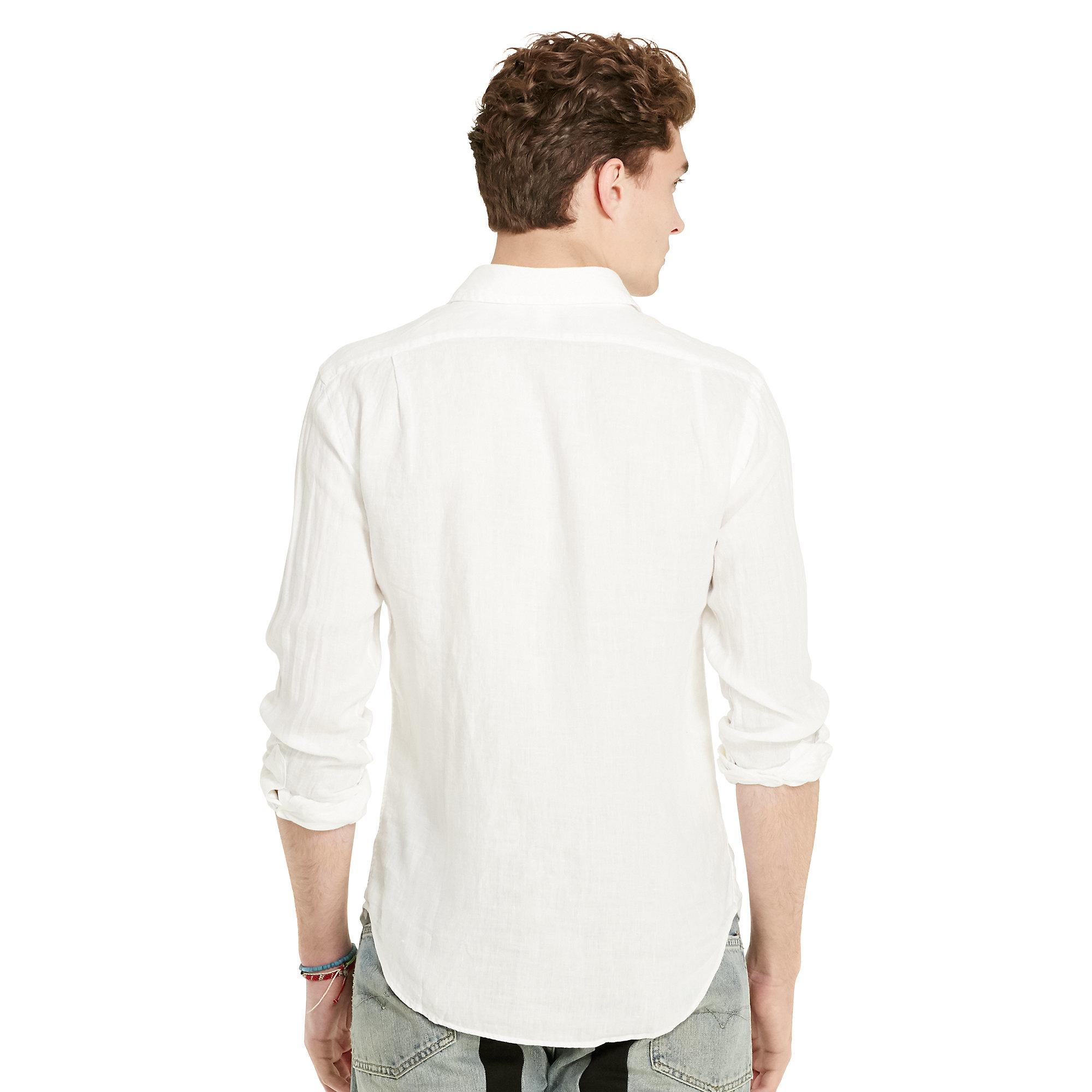 Polo ralph lauren estate slim fit linen shirt in white for for Slim fit white linen shirt