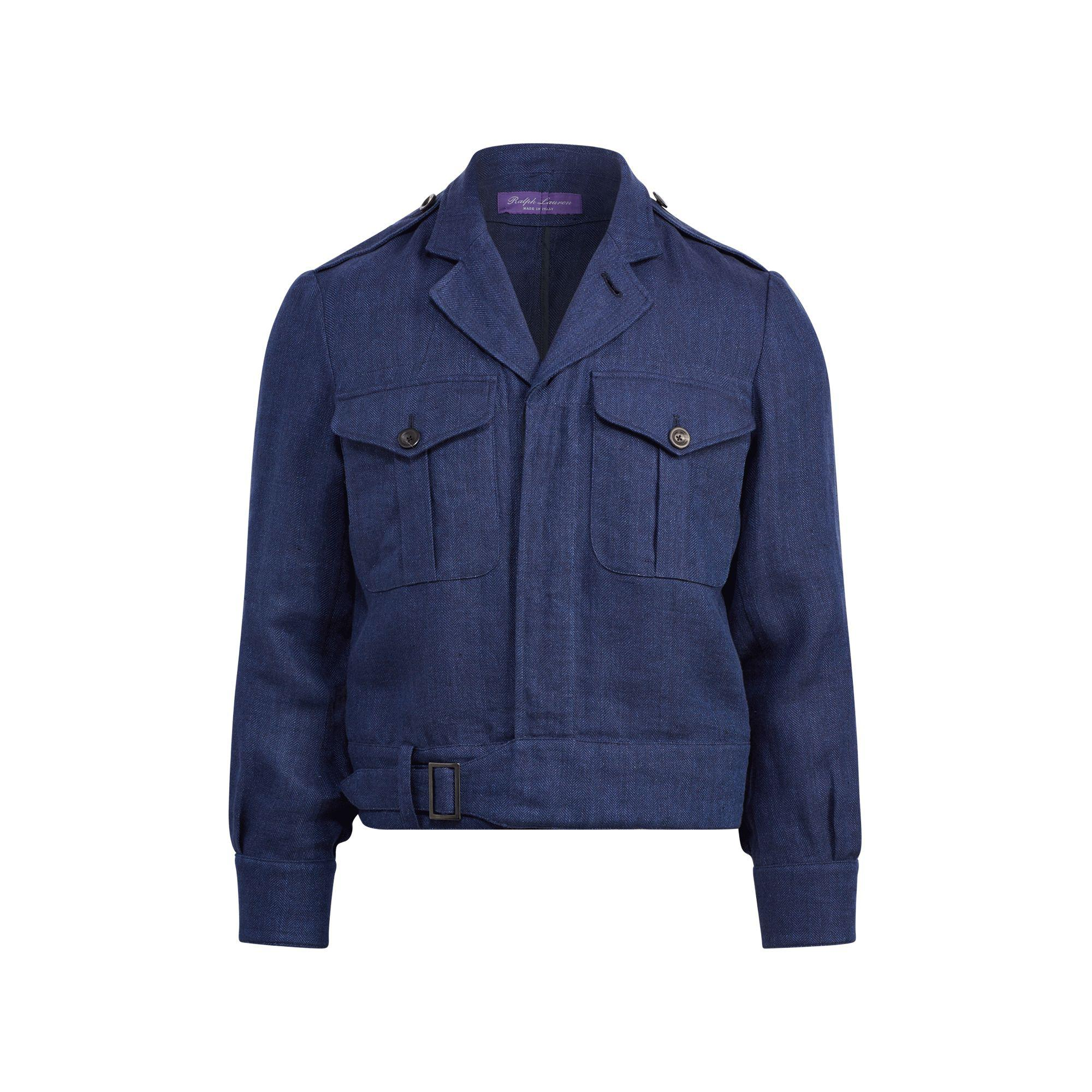 4692ced0d Ralph Lauren Purple Label Linen Herringbone Jacket in Blue for Men ...