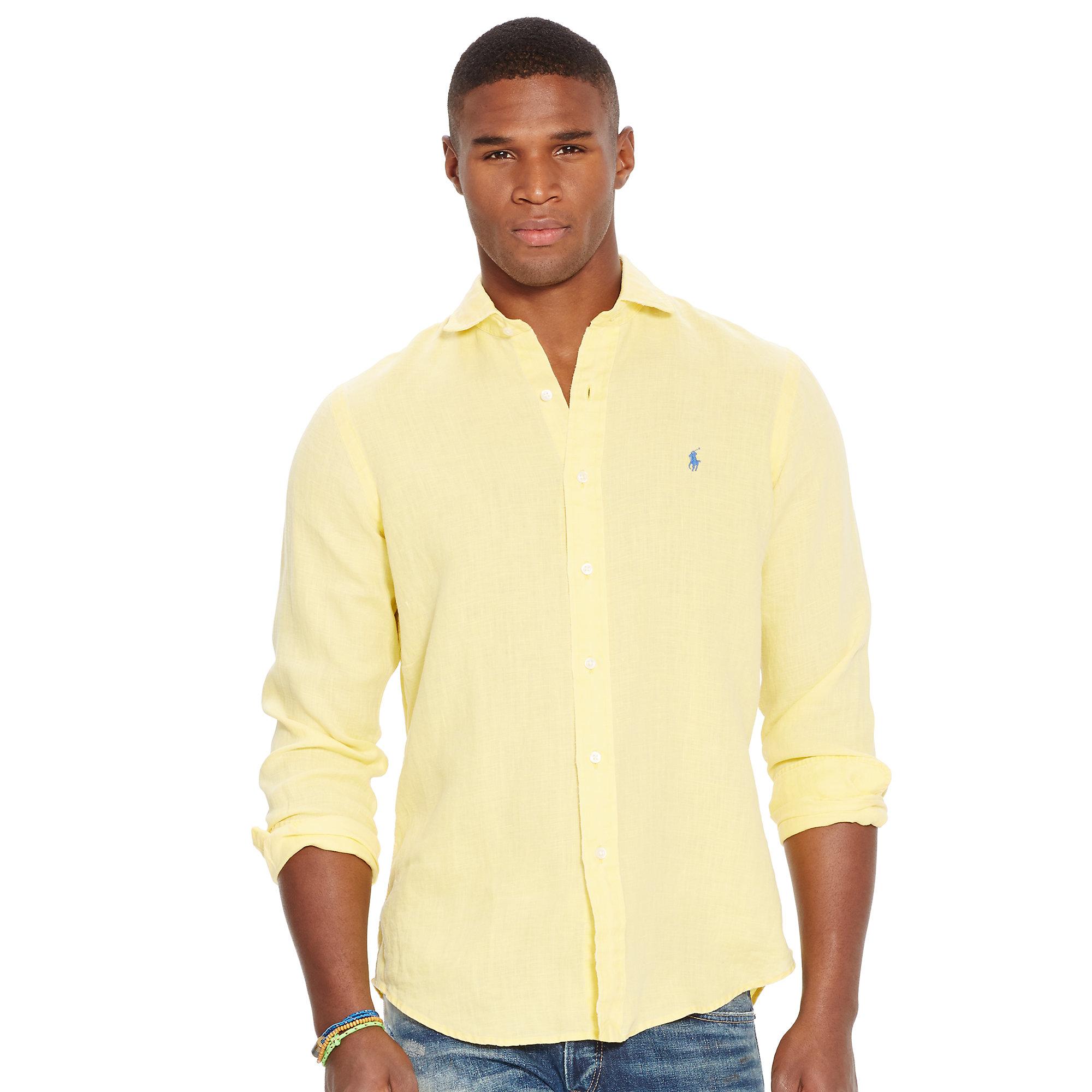 ff584196 Polo Ralph Lauren Slim Fit Shirt in Yellow for Men - Lyst