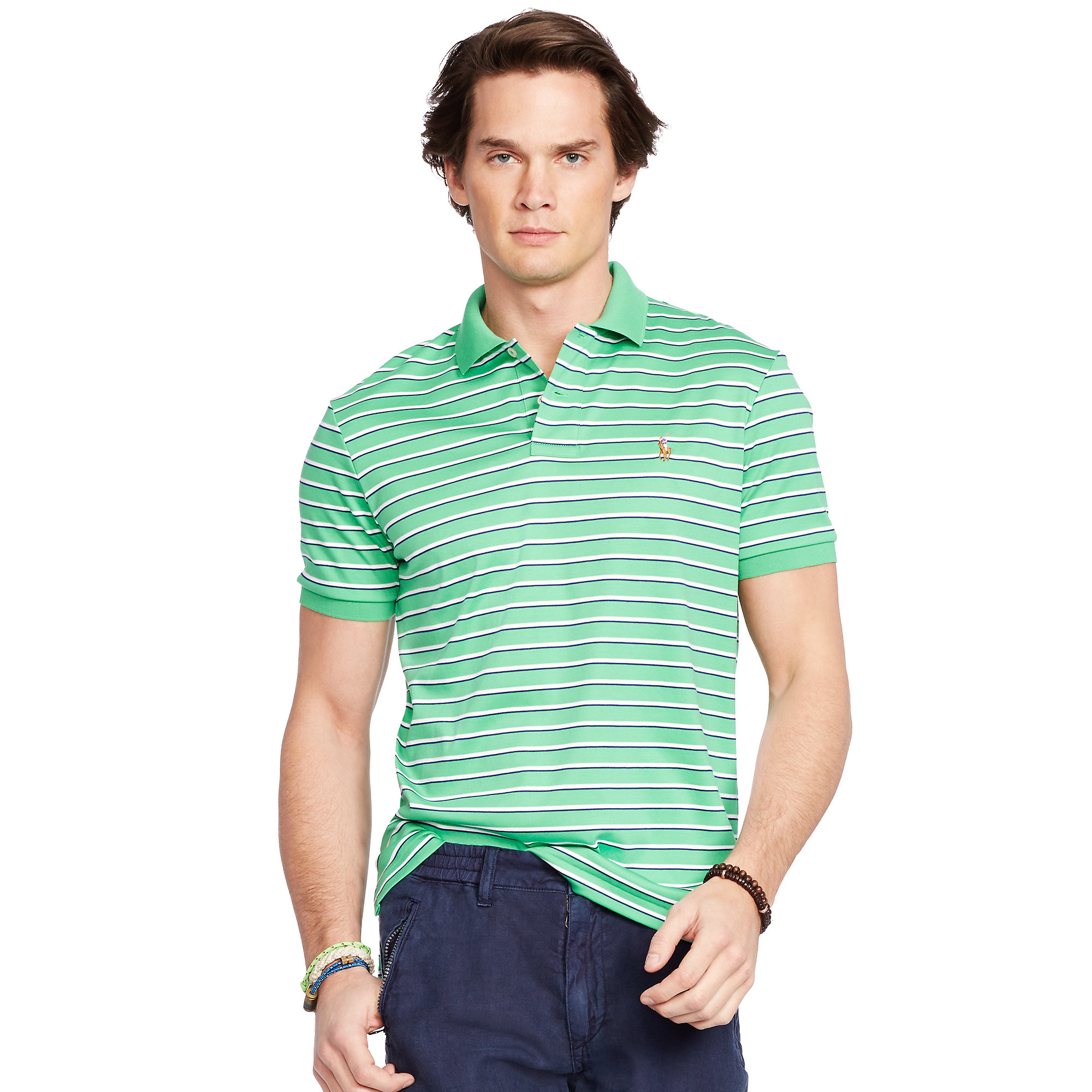 52e92cdb Lyst - Polo Ralph Lauren Striped Pima Soft-touch Polo in Green for Men