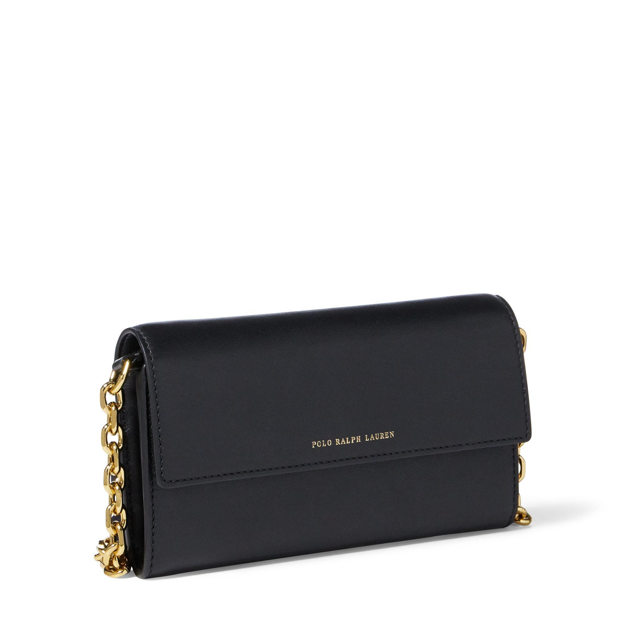 28feb820dc Lyst - Polo Ralph Lauren Nappa Leather Chain Wallet in Black