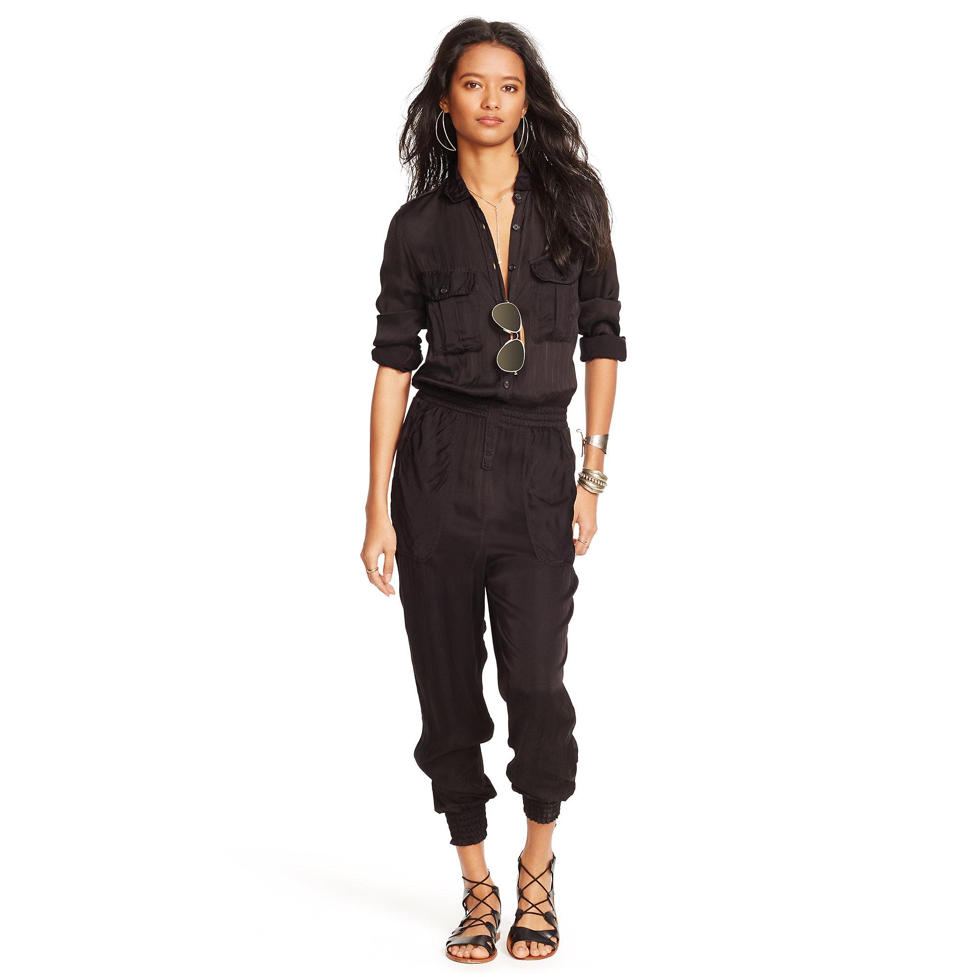 1e73a70d716e Lyst - Denim   Supply Ralph Lauren Satin Utility Jumpsuit in Black
