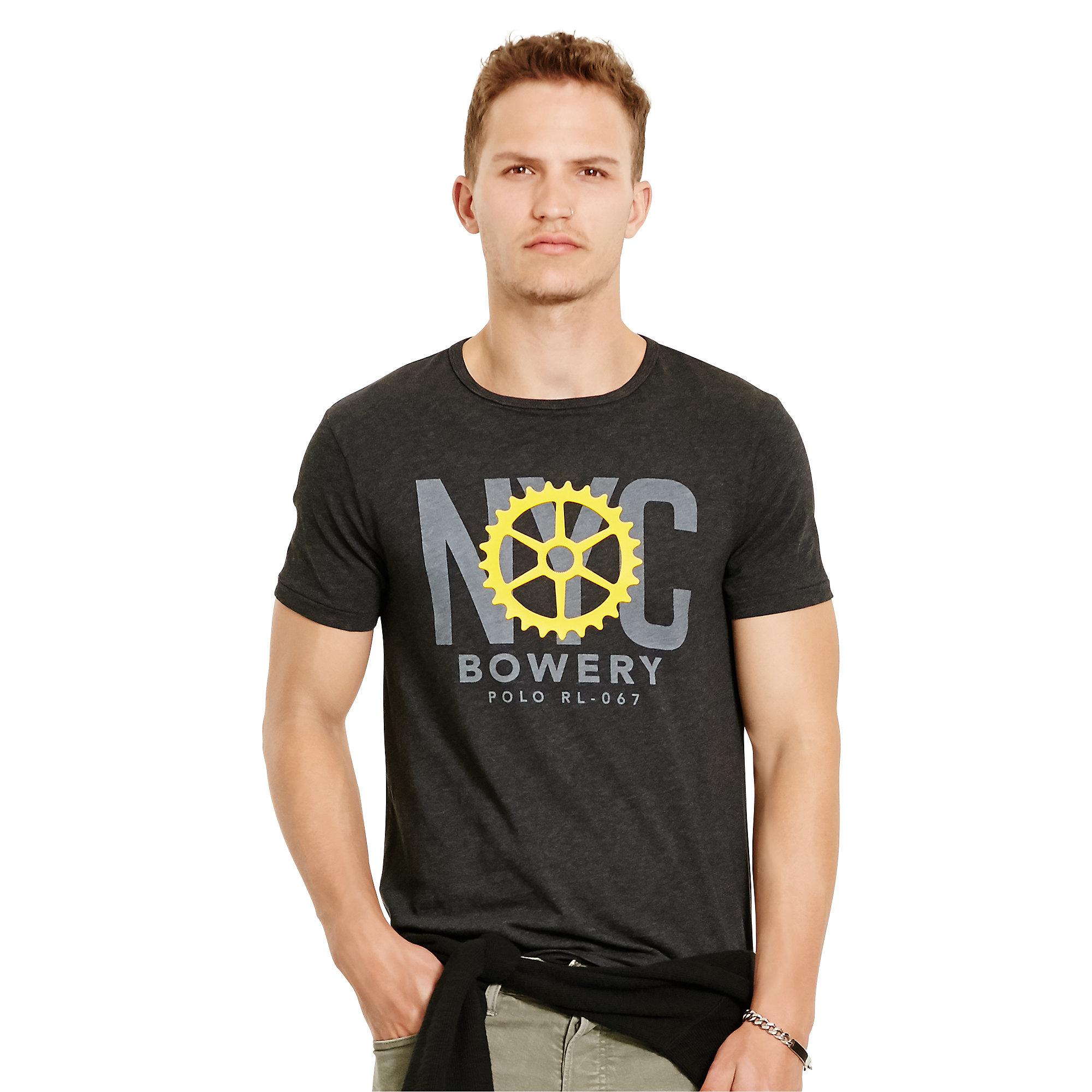 Polo ralph lauren custom fit cotton t shirt in black for for Polo custom fit t shirts