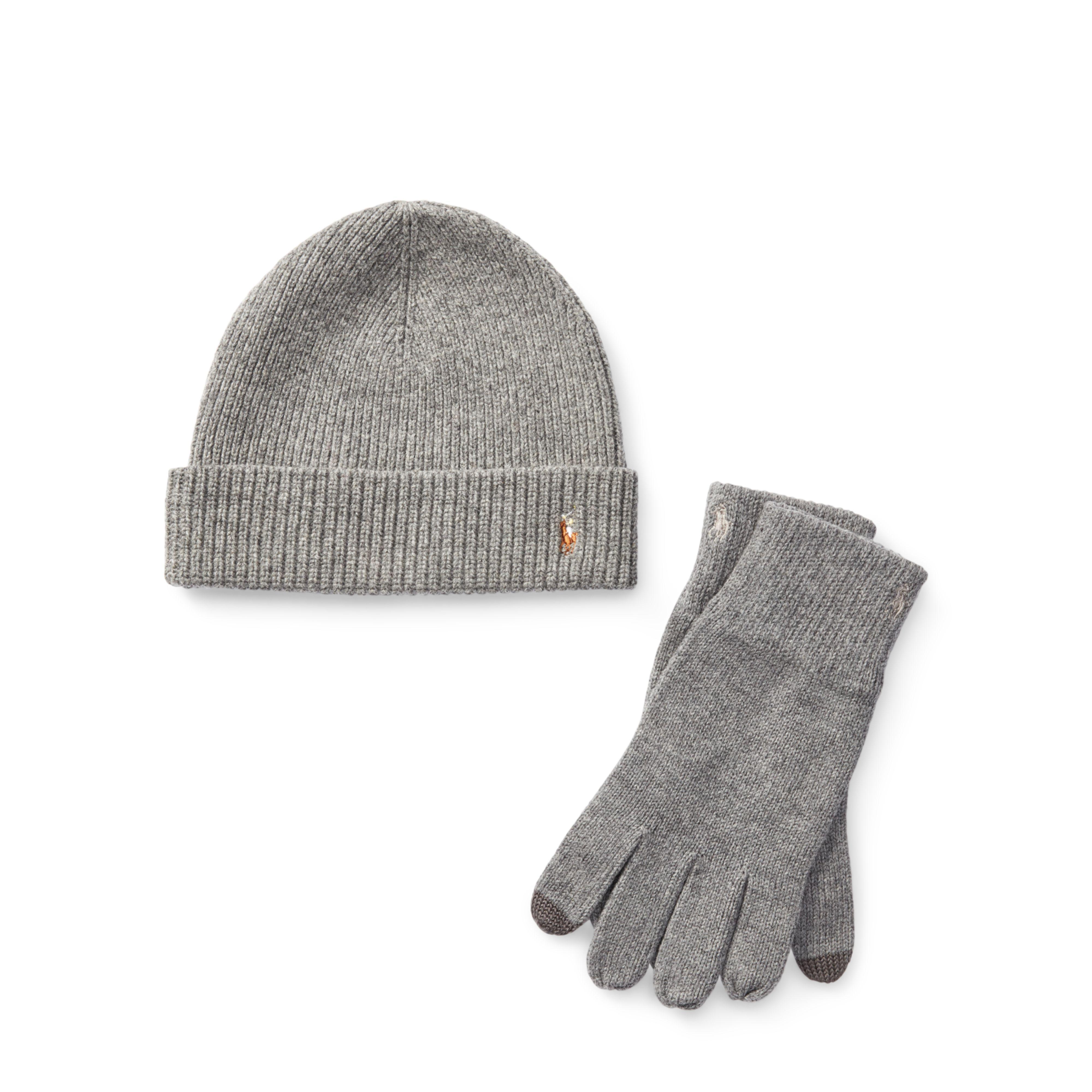 Lyst - Polo Ralph Lauren Merino Hat   Gloves Gift Set in Gray b996ea48bc74
