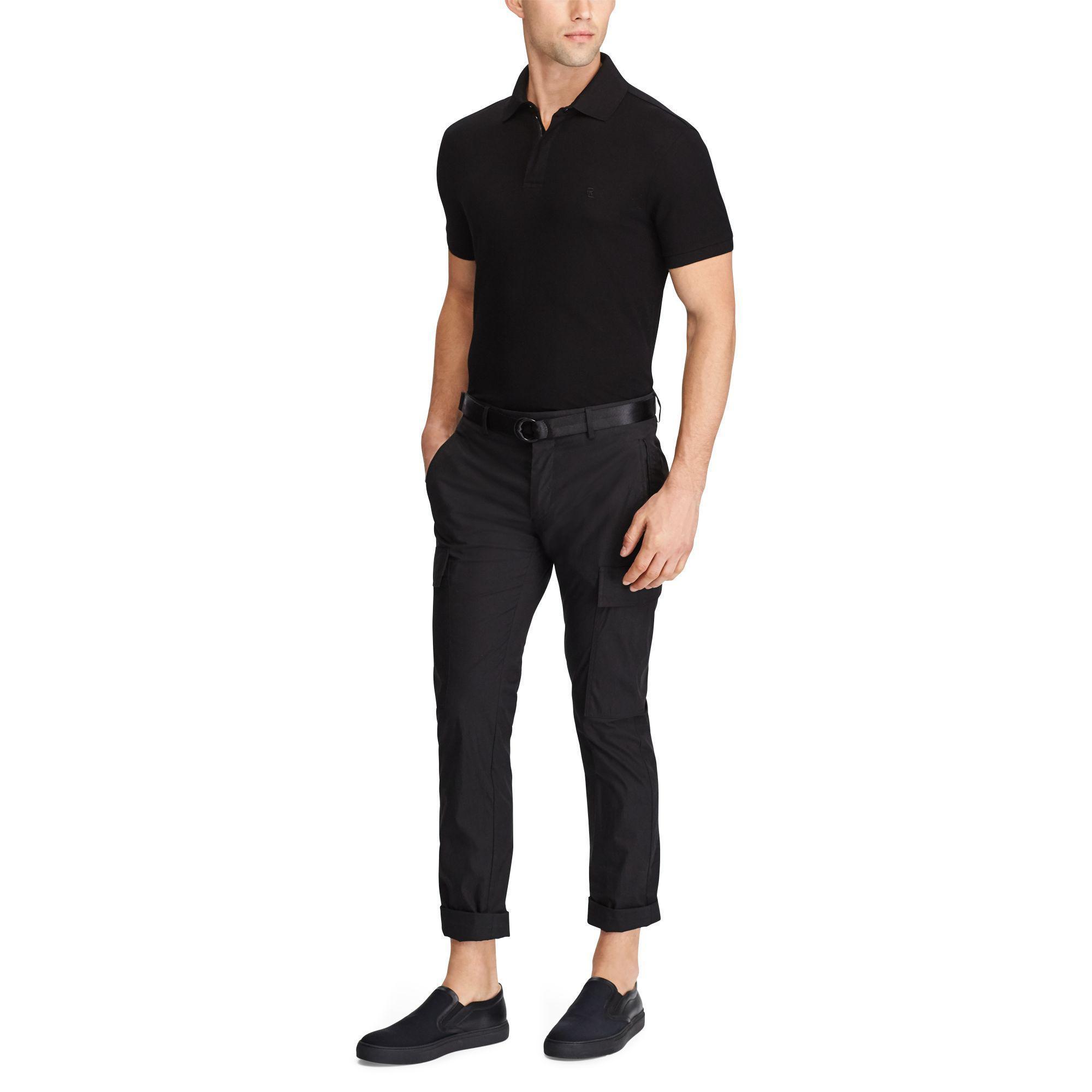 Ralph Lauren Purple Label - Black Zip-placket Stretch Pique Polo for Men -  Lyst. View fullscreen 461d4b3af86e4