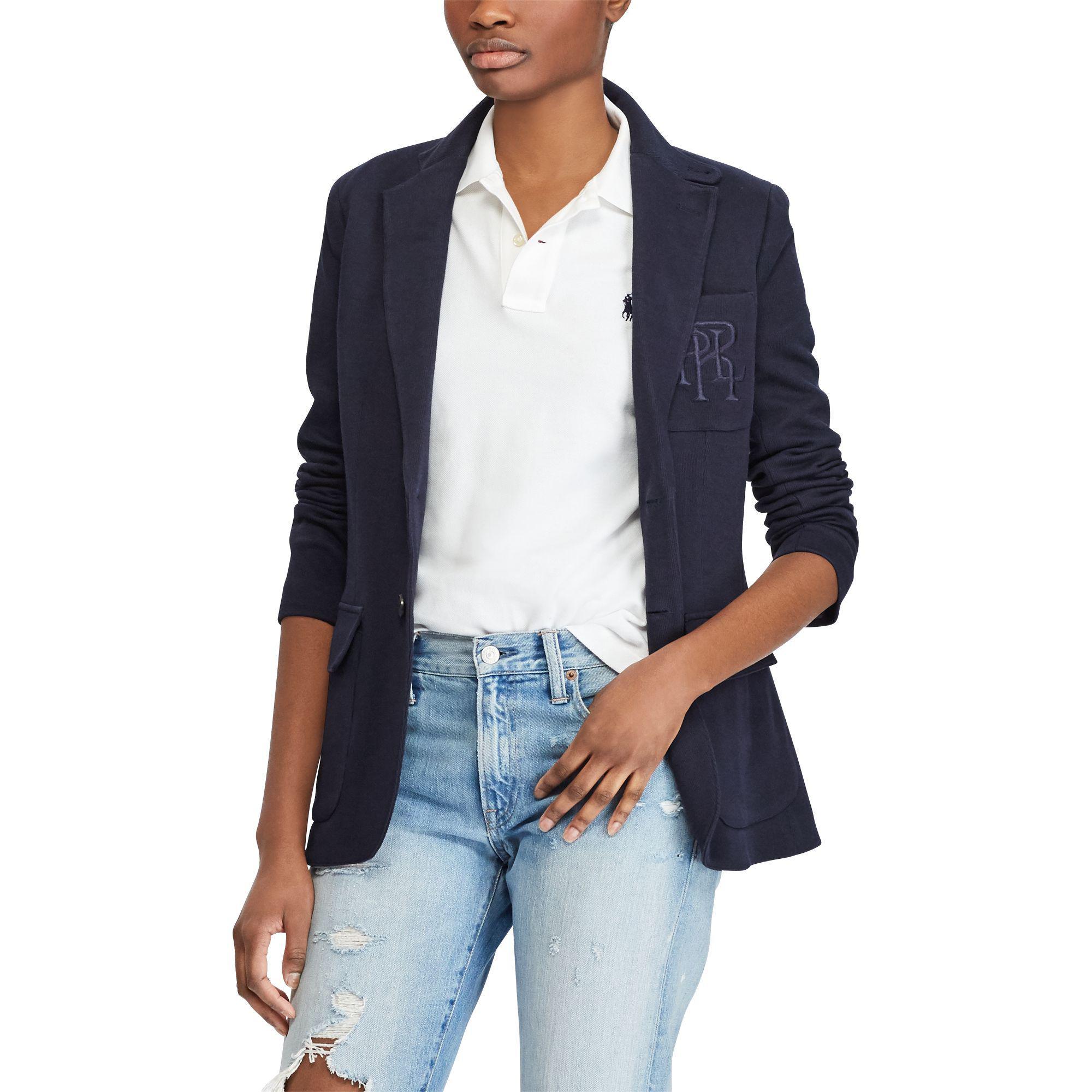 0b90d469c1d90 Lyst - Polo Ralph Lauren Knit Cotton-blend Blazer in Blue