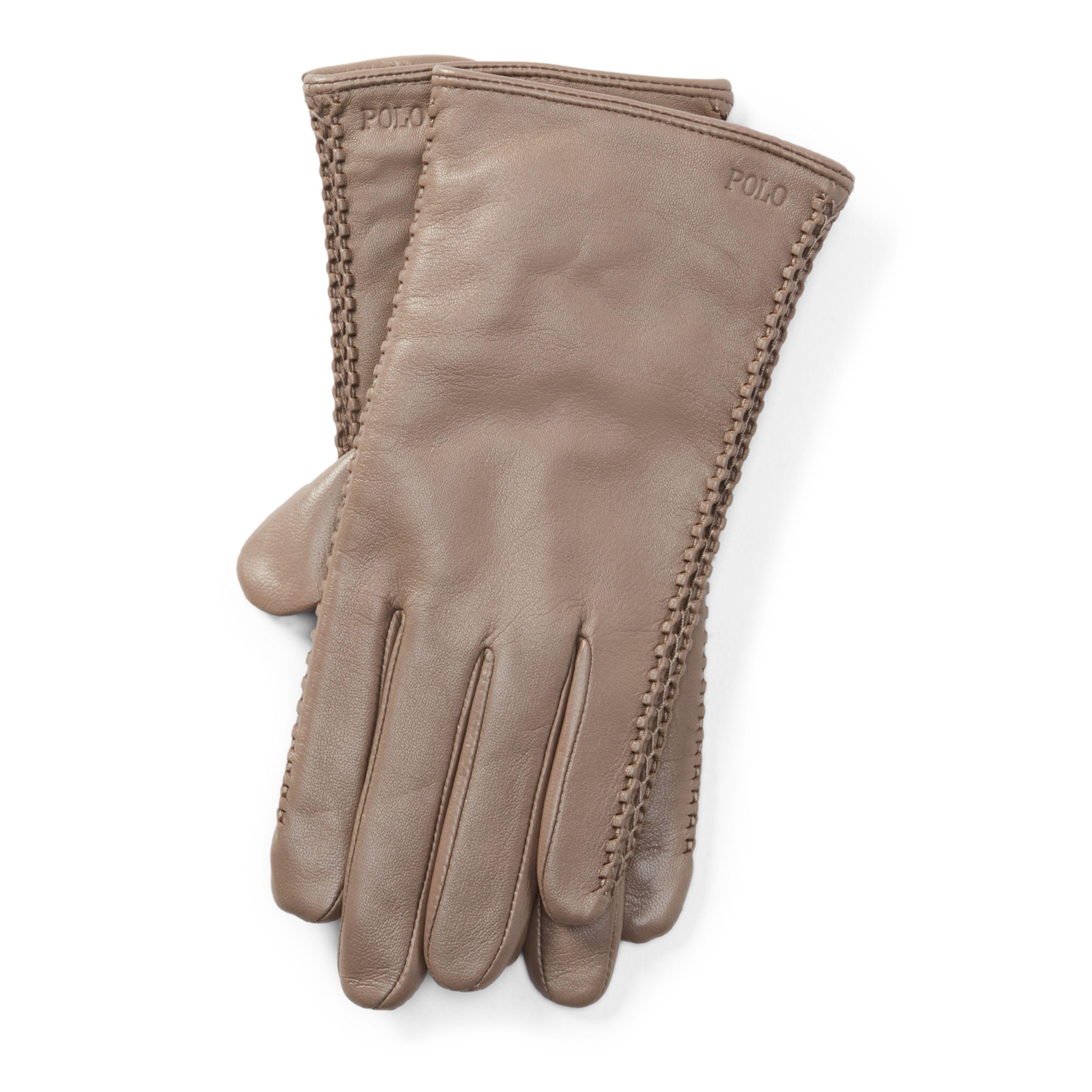 f58a7b324adb8 Lyst - Polo Ralph Lauren Corset-stitched Leather Gloves in Brown