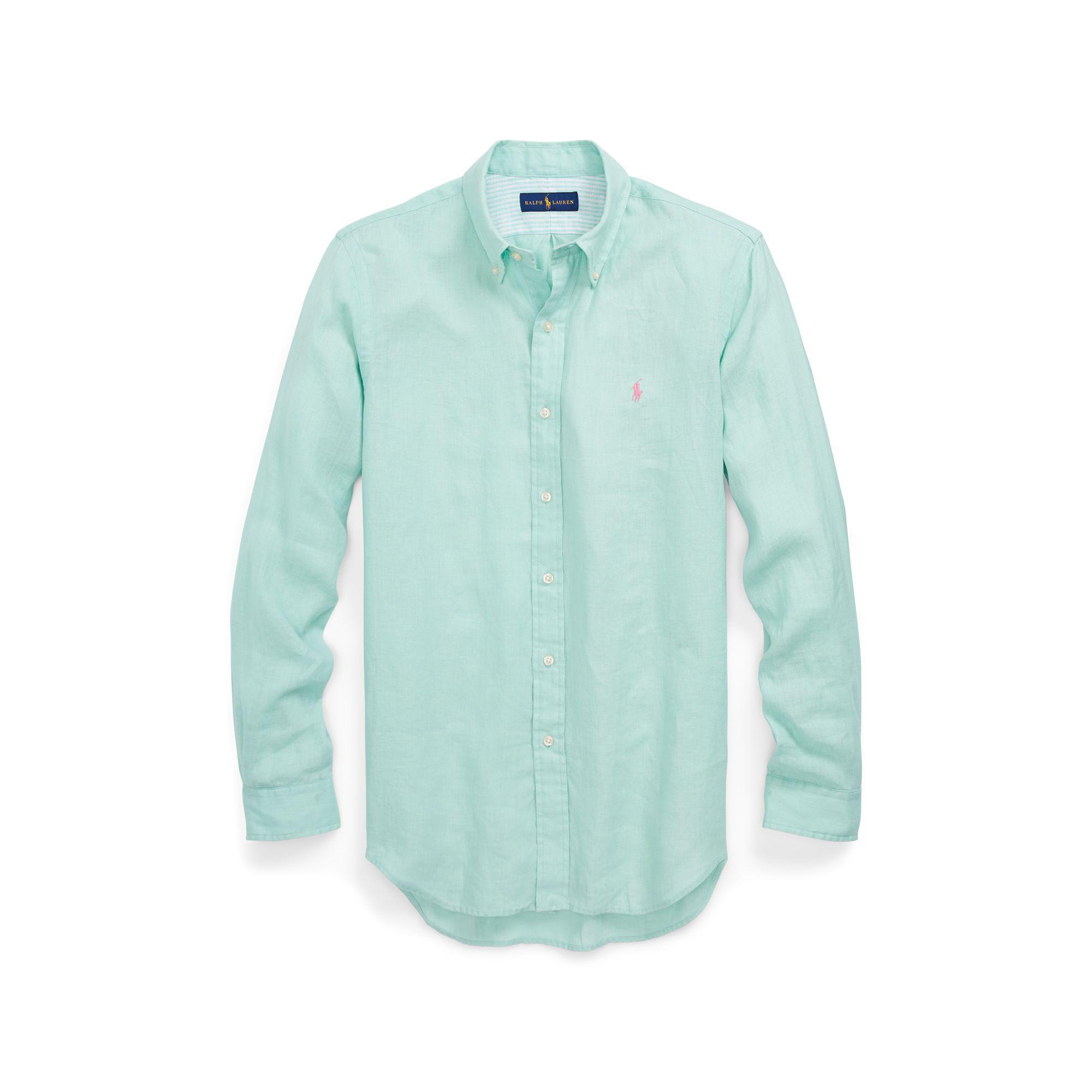 polo ralph lauren classic fit linen shirt in green for men