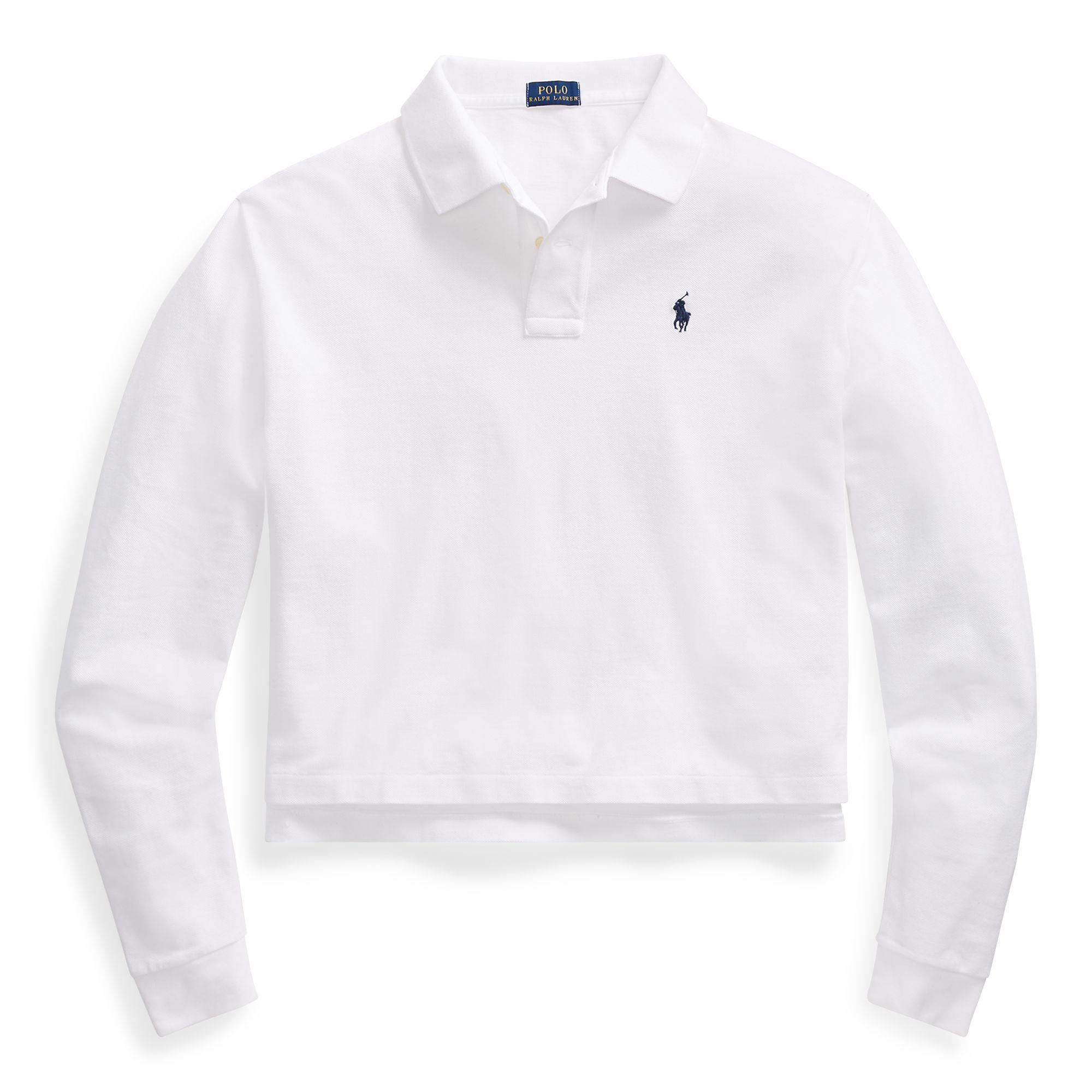 1cd85d1b531 Polo Ralph Lauren - White Cropped Mesh Polo Shirt - Lyst. View fullscreen