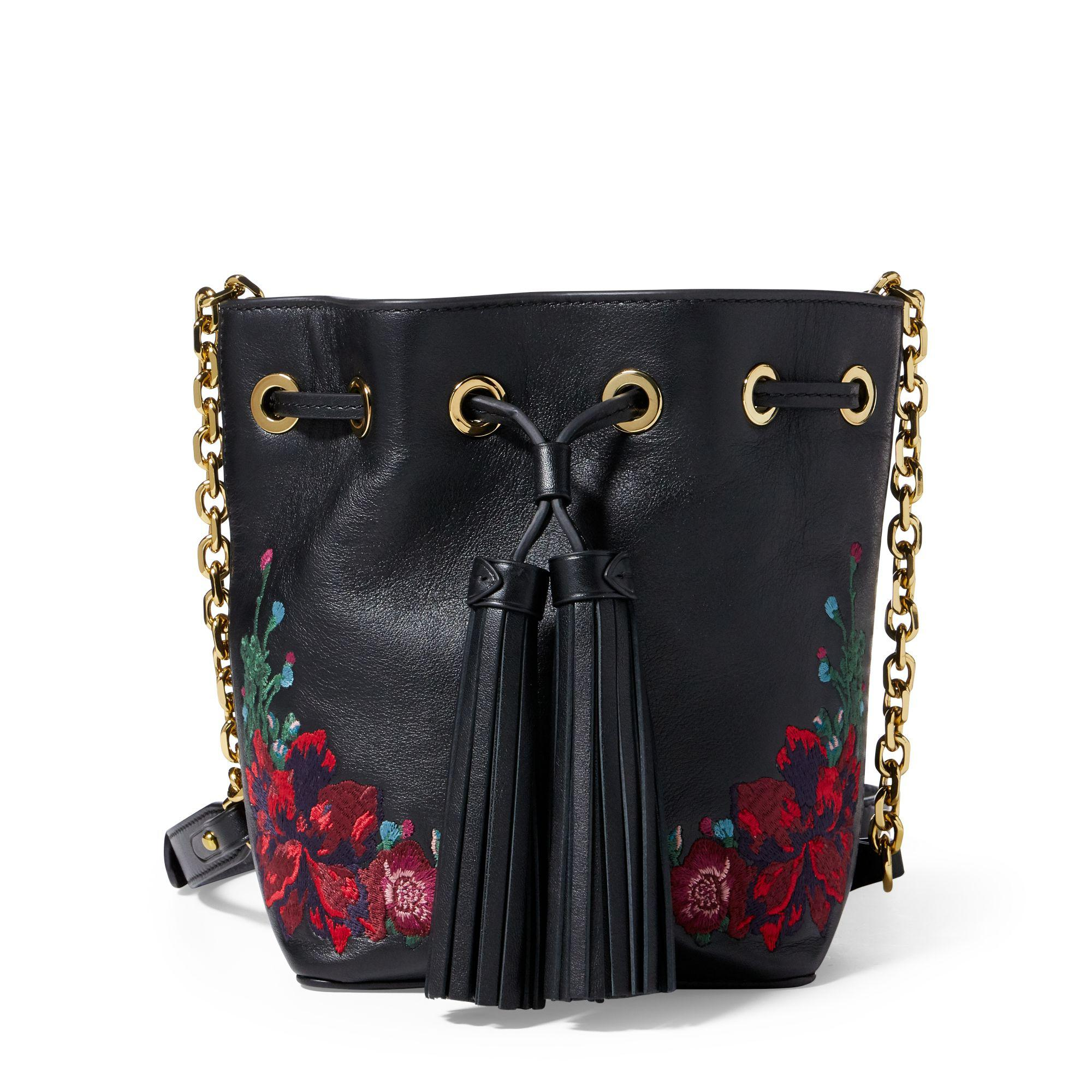 Polo Ralph Lauren Embroidered Nappa Bucket Bag in Black - Lyst 1caa2ae280a3e