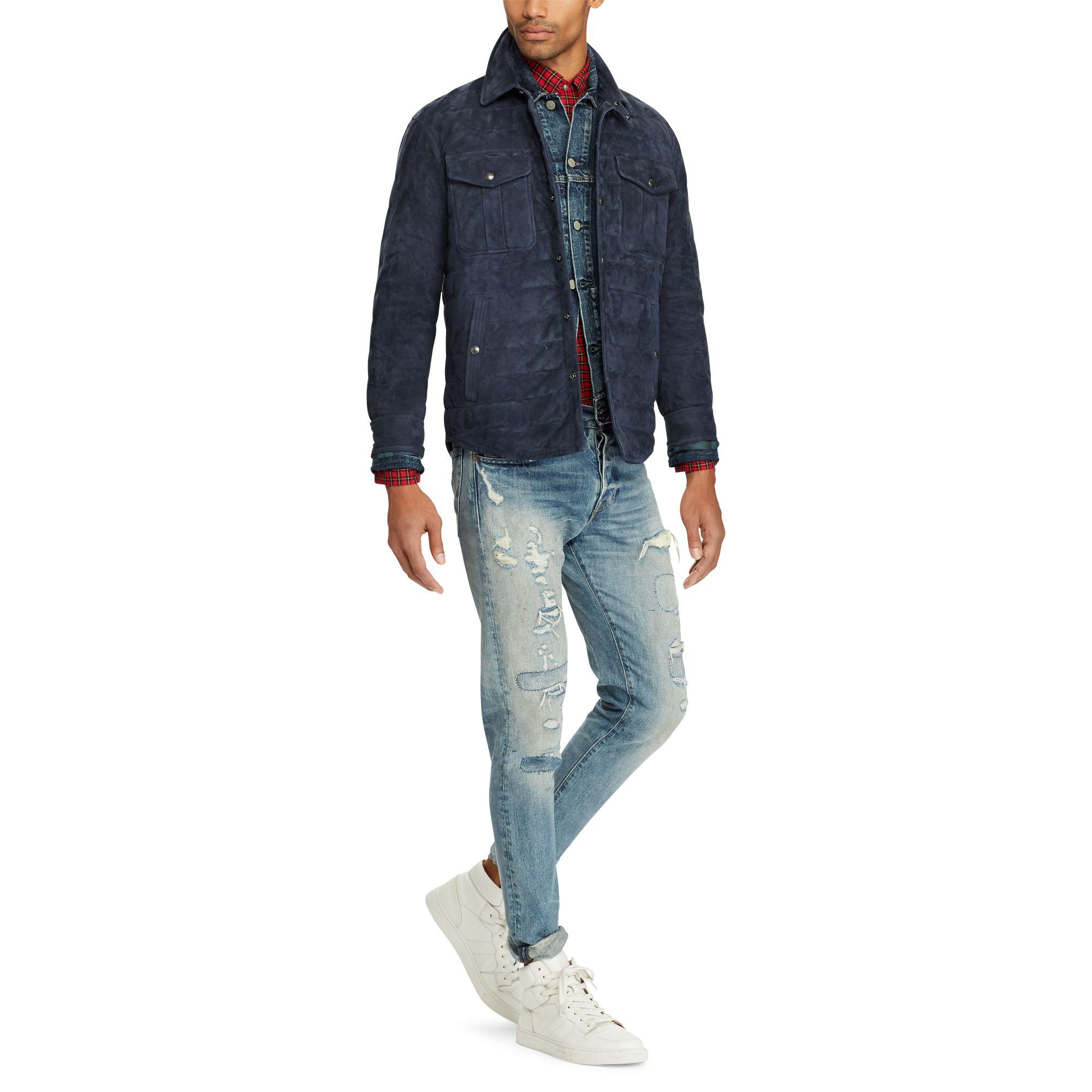 Polo Ralph Lauren - Blue Quilted Suede Down Jacket for Men - Lyst. View  fullscreen