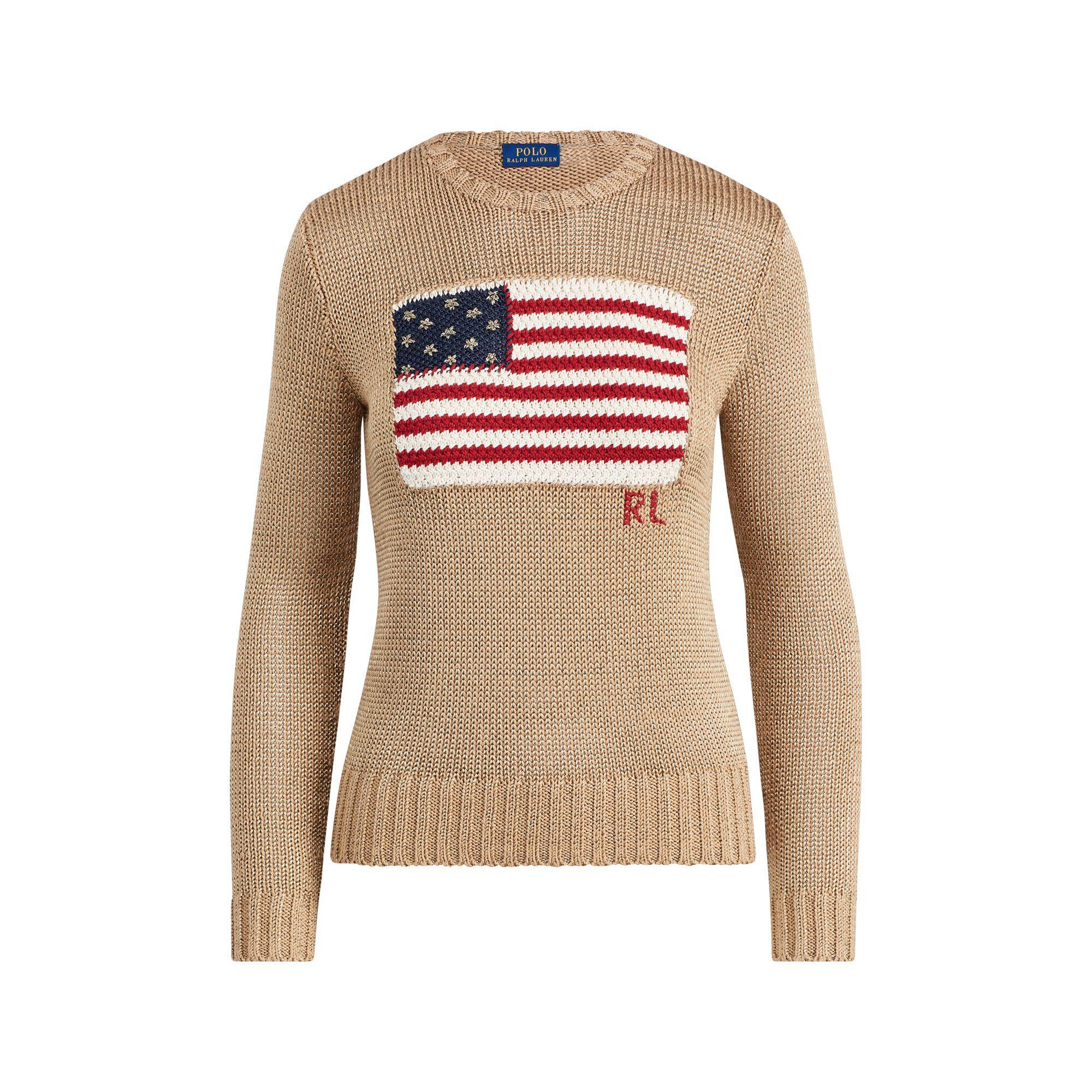 0e1d23e3e4 Lyst - Polo Ralph Lauren Golden Lamé Pullover With Flag Embroidery ...