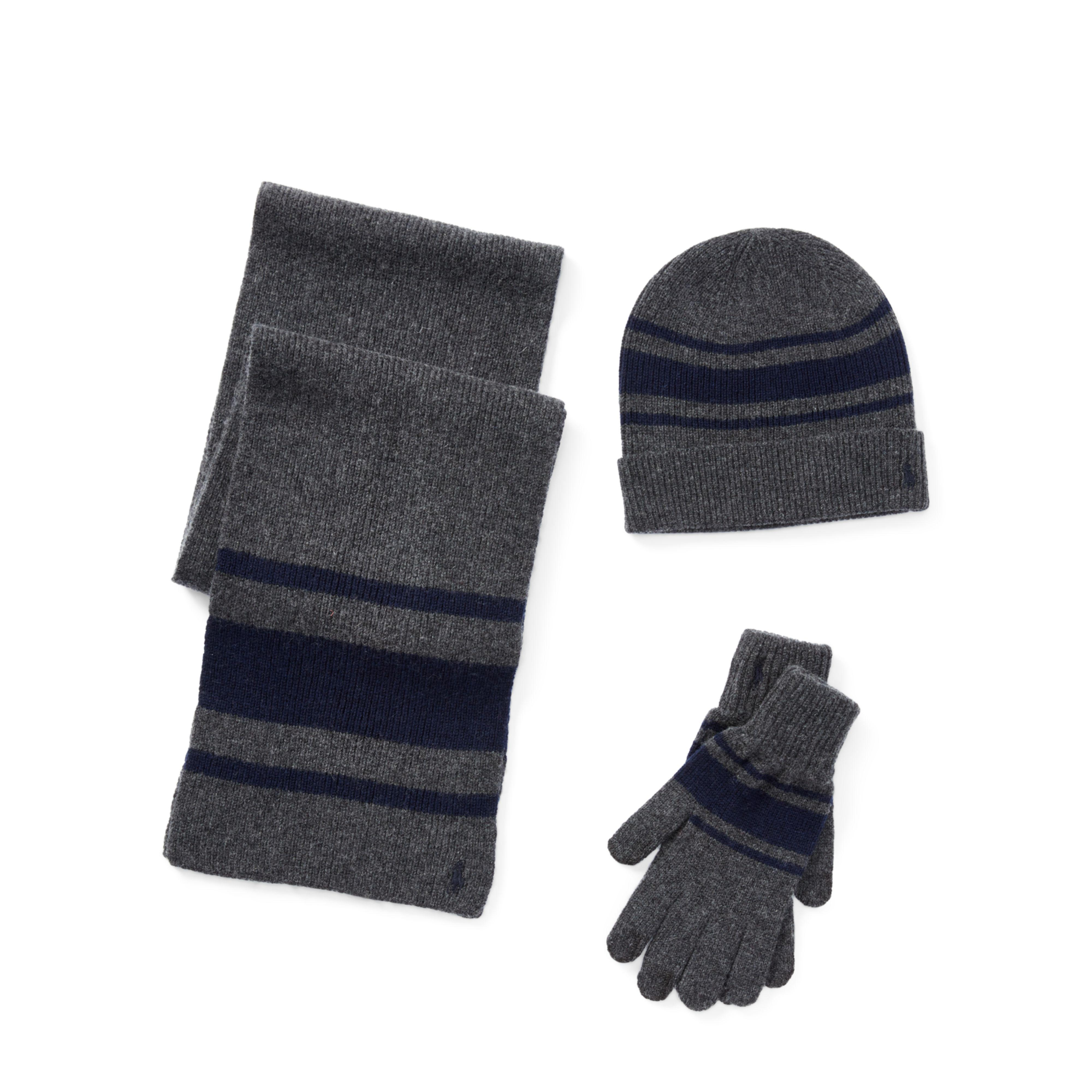 505015ee2a1e0 ... wholesale lyst polo ralph lauren striped hat scarf glove set in gray  for men 58af0 ef7b6