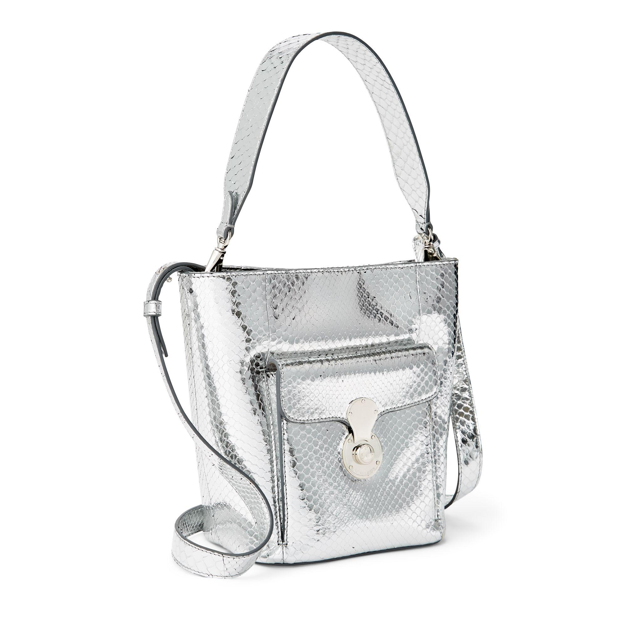 d3da3cdd1957 Ralph Lauren Calfskin Mini Rl Bucket Bag in Metallic - Lyst