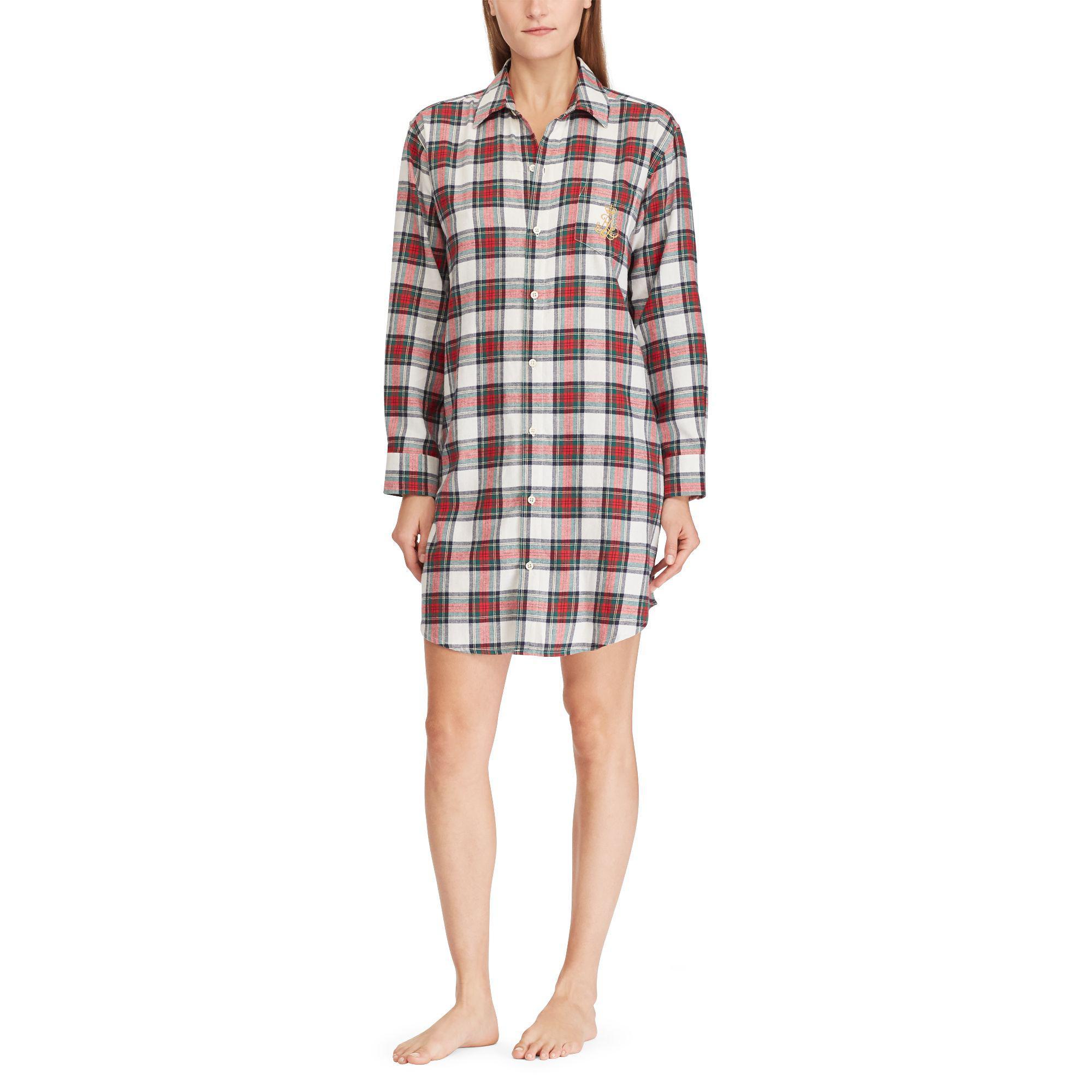 Ralph Lauren - Red Brushed Cotton Sleep Shirt - Lyst. View fullscreen 3e6d1f8f9