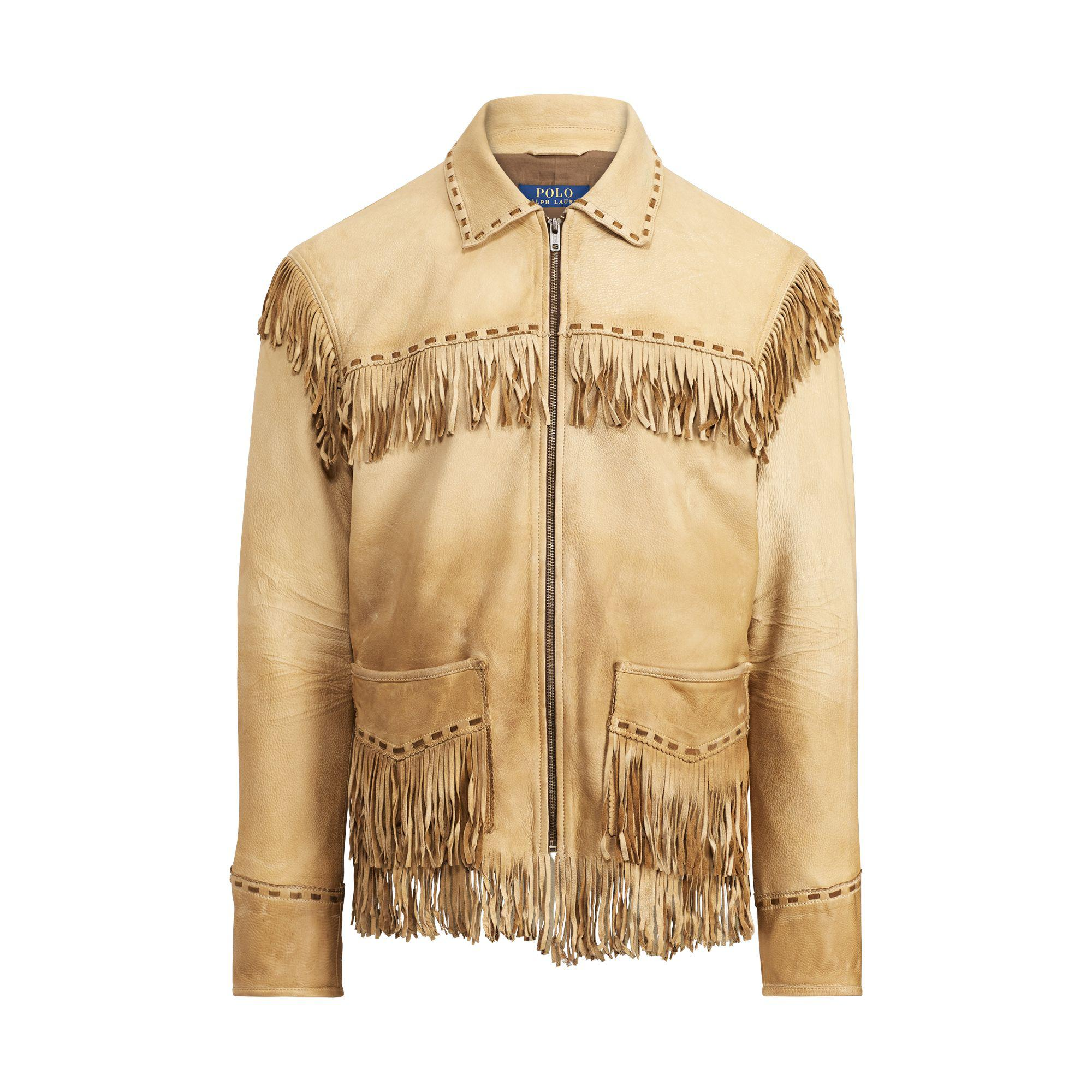 lyst polo ralph lauren fringe deerskin jacket for men. Black Bedroom Furniture Sets. Home Design Ideas
