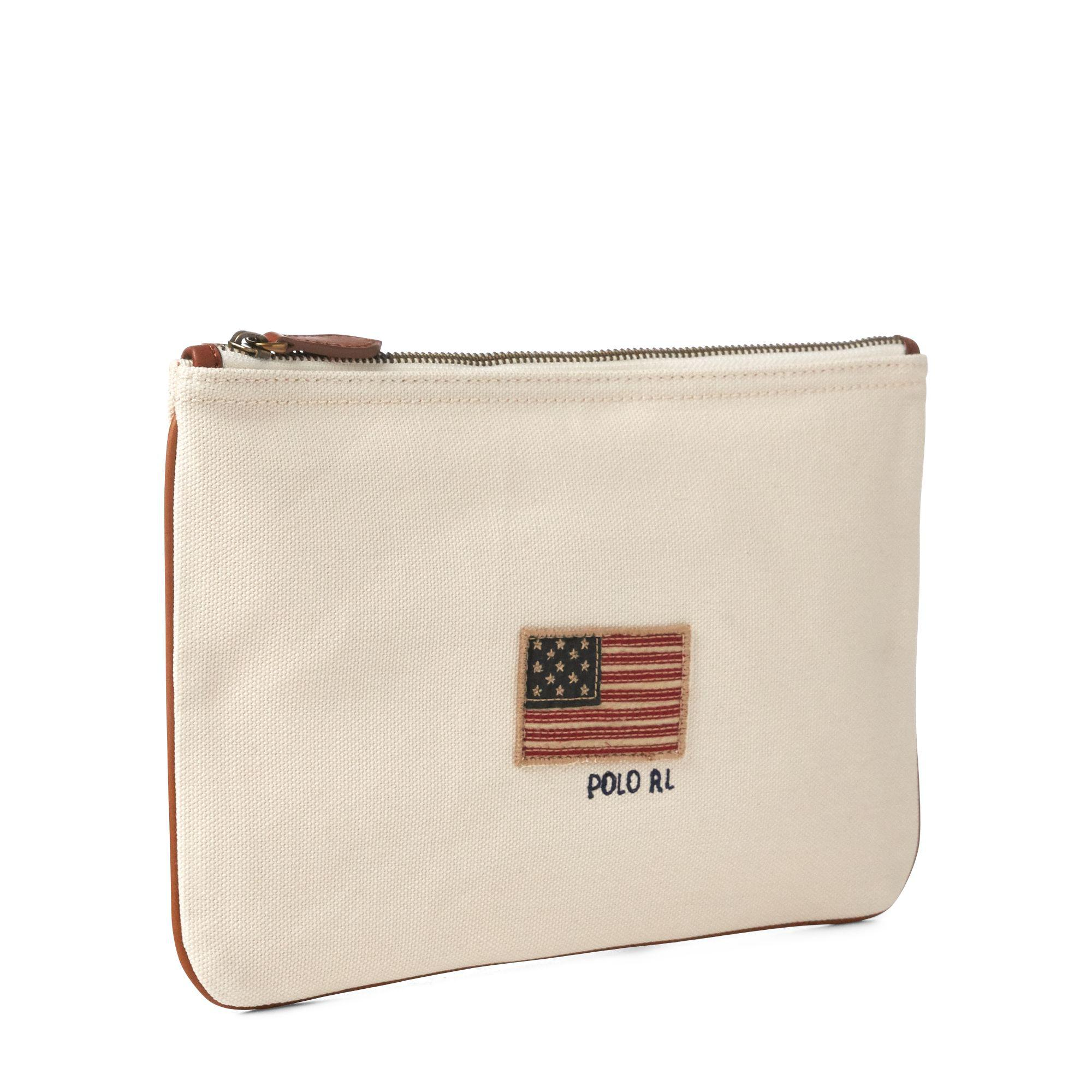 24fc31646c11 ... cheapest polo ralph lauren natural flag canvas small pouch lyst. view  fullscreen b66c4 afc4d