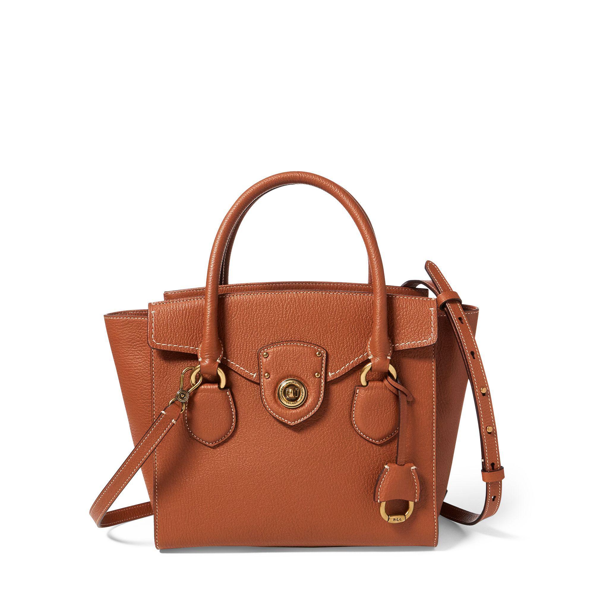 Ralph Lauren Pebbled Leather Medium Satchel in Brown - Lyst 8f68cd0b88