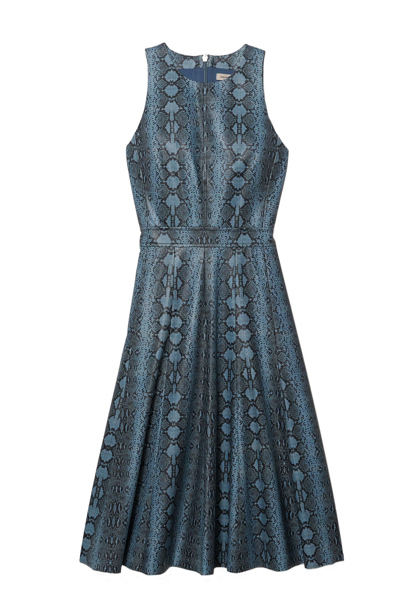 Lyst Rebecca Taylor Sleeveless Snake Print Dress In Blue