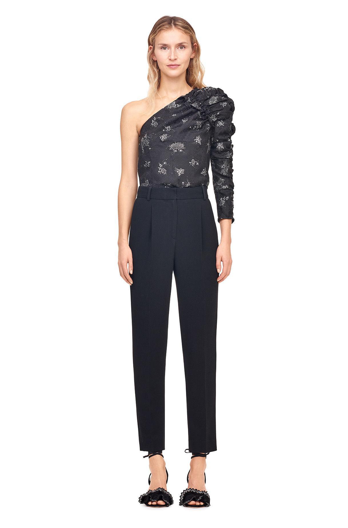 4e94a0e1a7a07 Lyst - Rebecca Taylor One-shoulder Glitter Print Top in Black