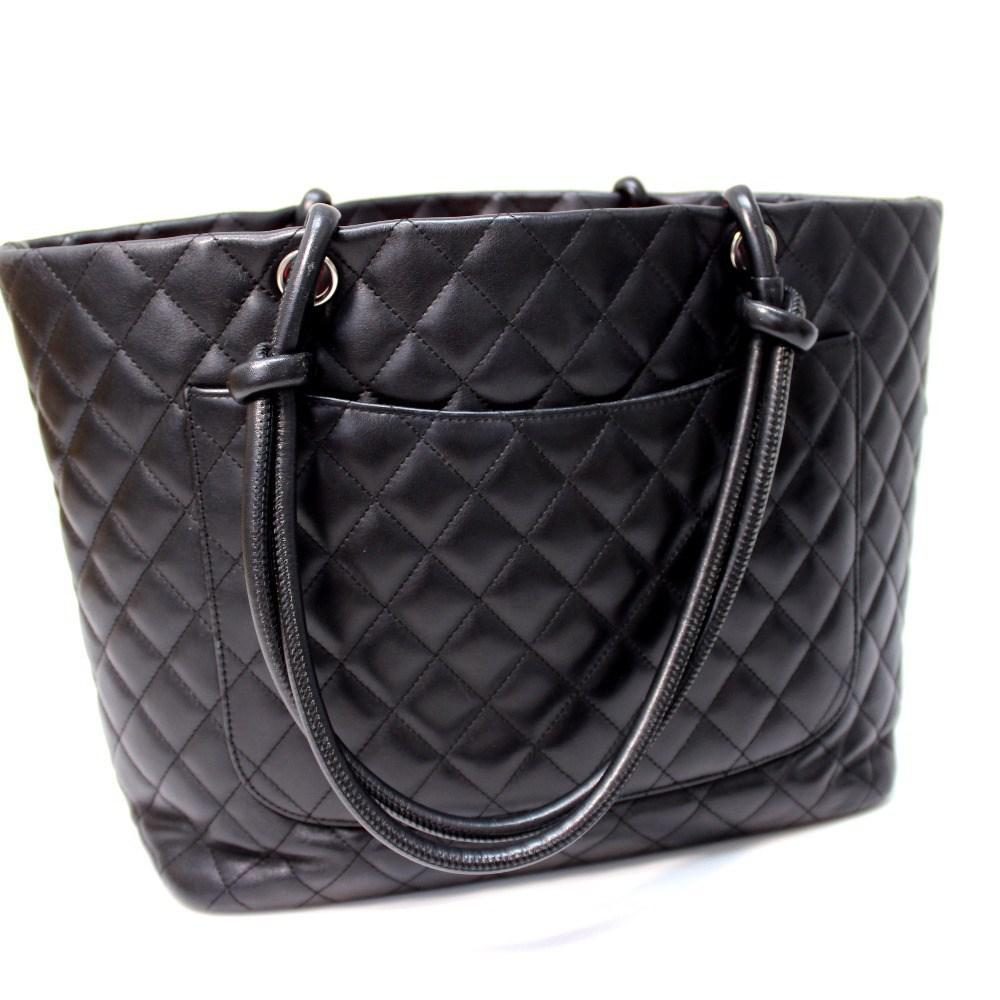c52b379deed206 Lyst - Chanel Cambon Line Large Tote Shoulder Bag Black Calf Leather ...