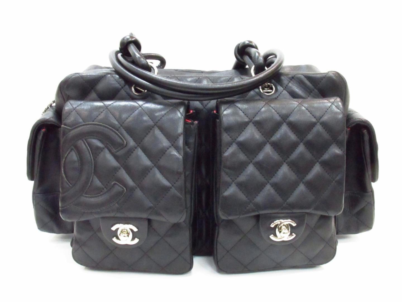 a4c415f27d59 Chanel Cambon Multi Pocket Hand Boston Bag Lamb Skin Leather Black ...