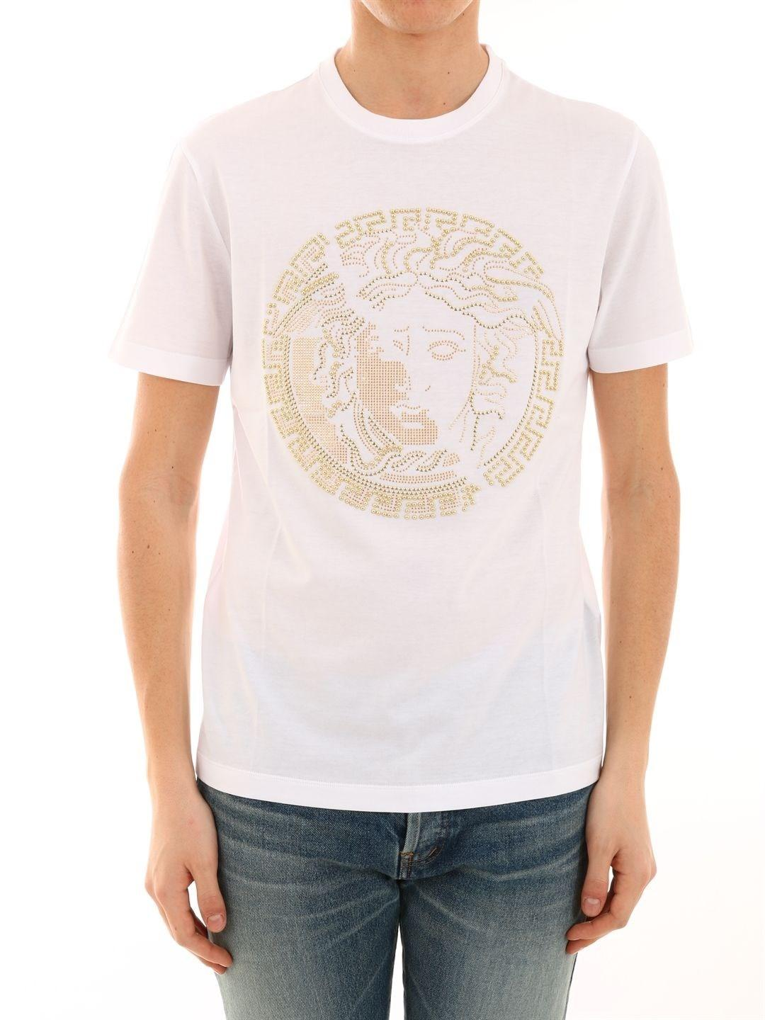 7dc739f33 Lyst - Versace Men's A81884a224589a001 White Cotton T-shirt in White ...