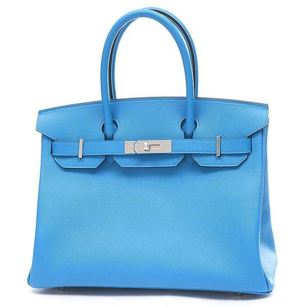 7ed0e65ec89 Lyst - Hermès Birkin 30 Epson Blue Zanzibar Silverhardware A Marking ...