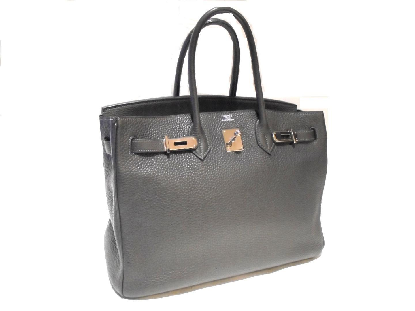 d7cf6778cd Lyst - Hermès Birkin 35 Handbag Totebag Clemence Leather Graphite ...