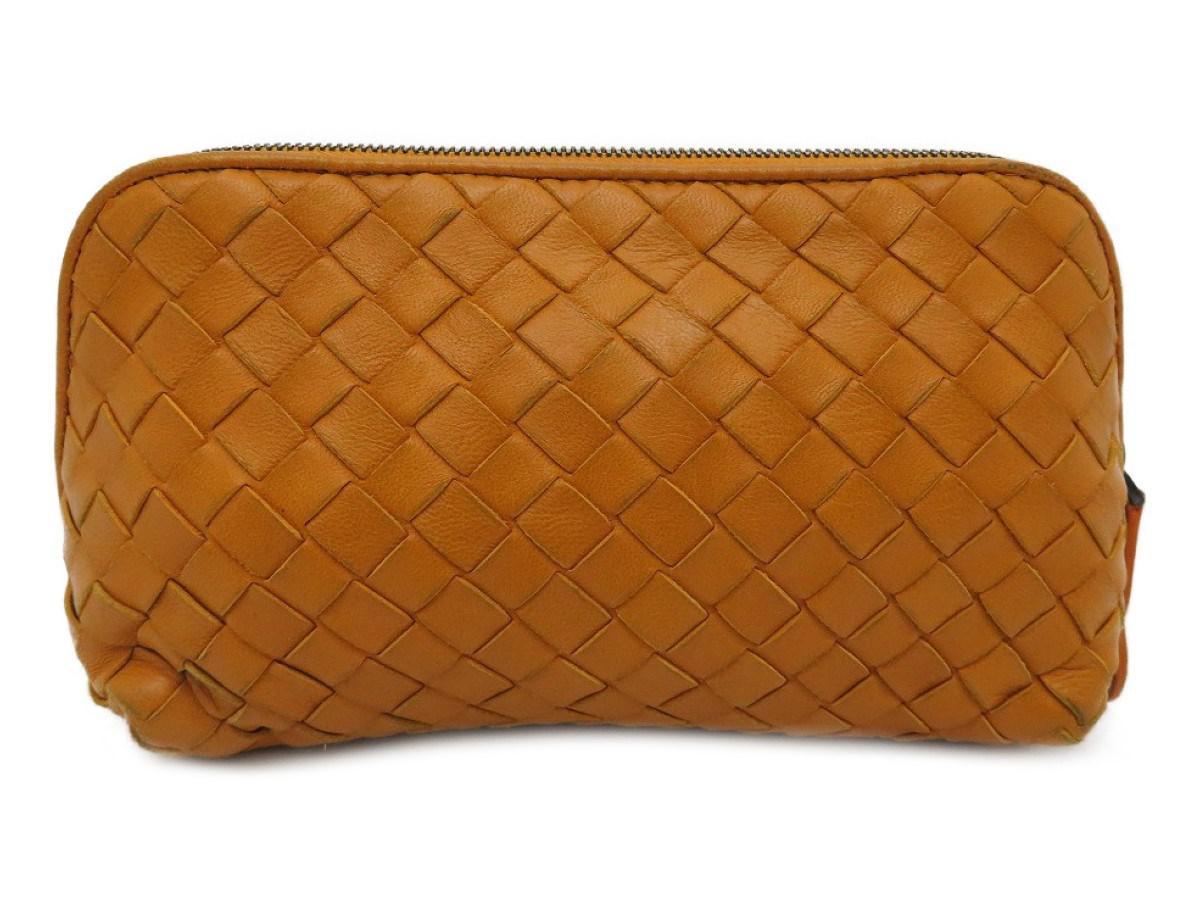 8b5dccc795 Lyst - Bottega Veneta Bv Cosmetic Pouch Intrecciato Leather Orange ...