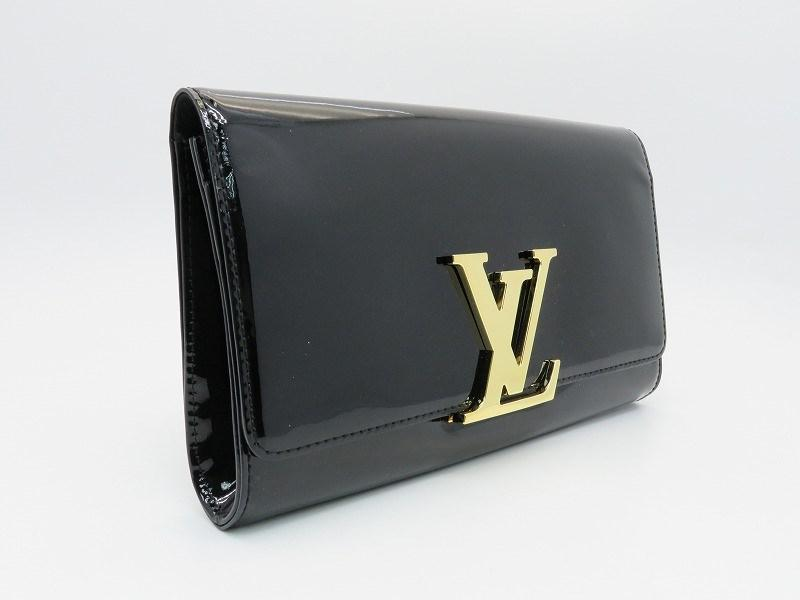 e398970a3874 Lyst - Louis Vuitton Patent Leather Louise Ew Clutch Bag Black ...