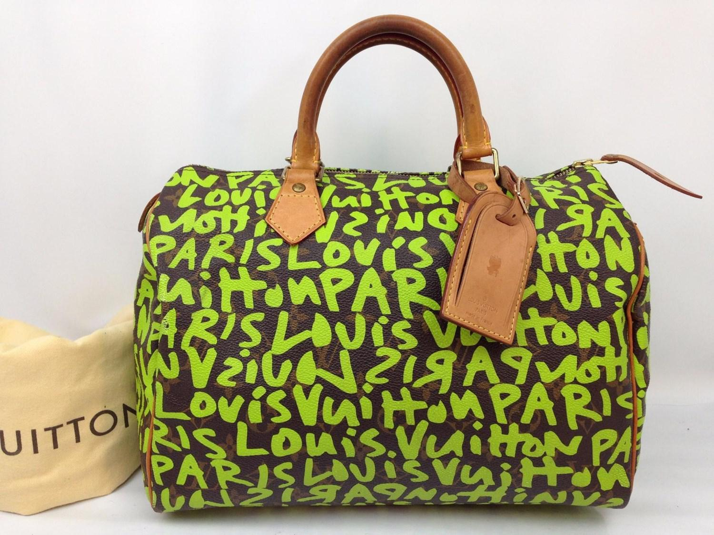 19379dbb25e9 Lyst - Louis Vuitton Monogram Graffiti Speedy 30 Handbag Brown green ...