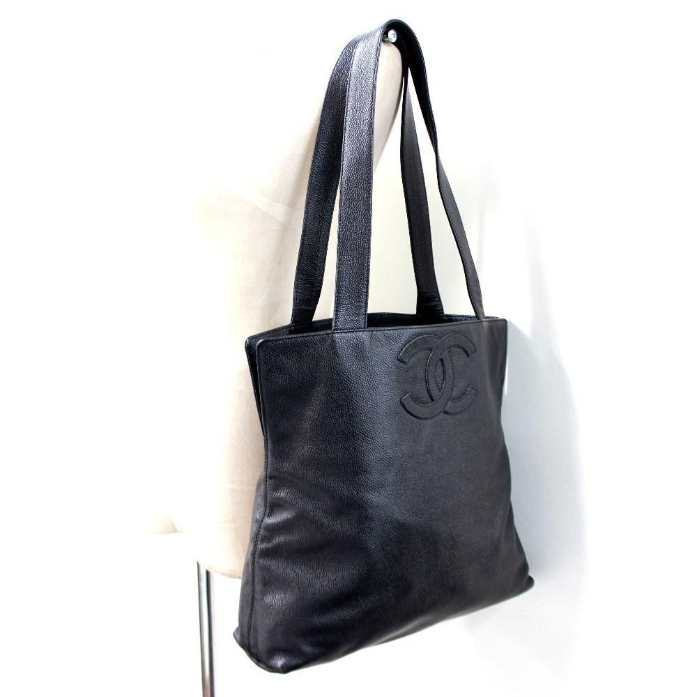 3700ca313c17 Lyst - Chanel Cc Tote Bag Shoulder Bag Black Caviar Leather in Black