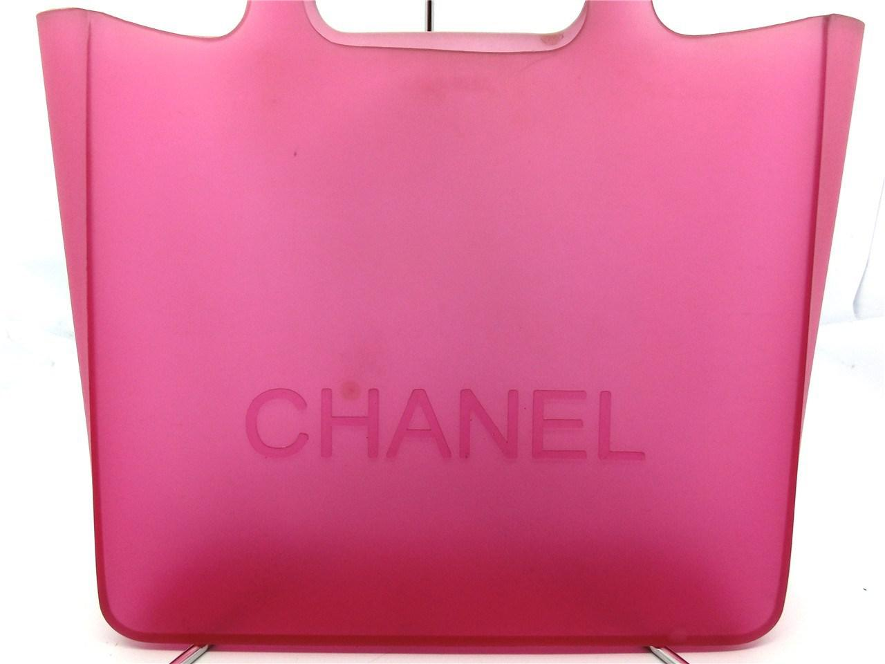 581f95bedf47c1 Chanel Authentic Pink Jelly Rubber Cc Logo Shopper Tote Bag ...