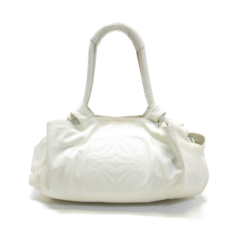 9b3b7af5e7a6d9 Loewe. Men's Auth Nappa Aire Tote Handbag White Leather Used Vintage