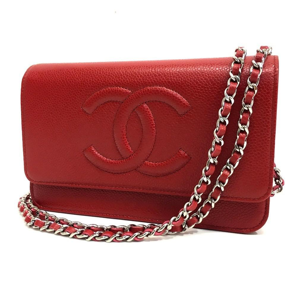b488a346990e10 Chanel Unused Cc Caviar Leather Woc Chain Wallet Shoulder Bag Red ...