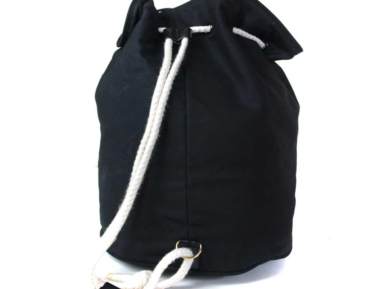 7b12dd2cc9eb Lyst - Chanel Authentic Black Cotton Canvas Drawstring Backpack Bag ...