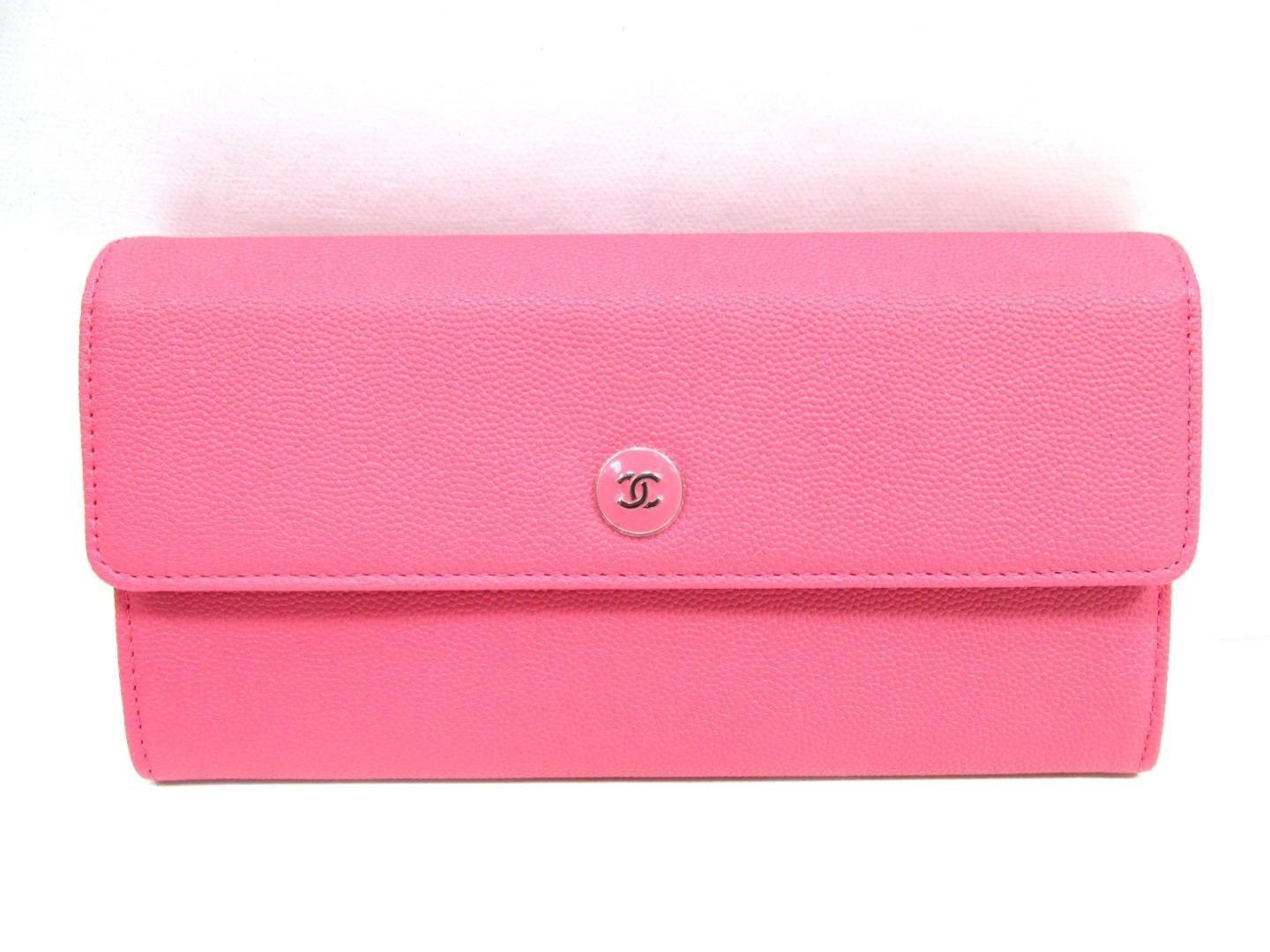 bc76c13a6c6c Chanel Coco Zip Long Wallet Bi-fold Purse Grain Goatskin Pink in ...