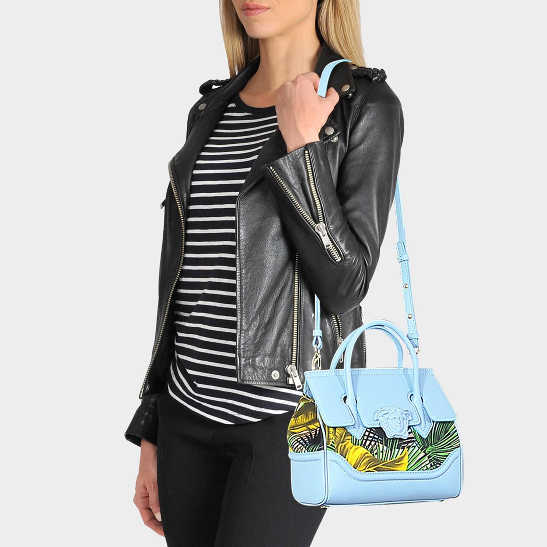 00e4e25b8f Versace - Palazzo Empire Small Bag In Multicolour Baby Blue Calf And Drill  Cotton - Lyst