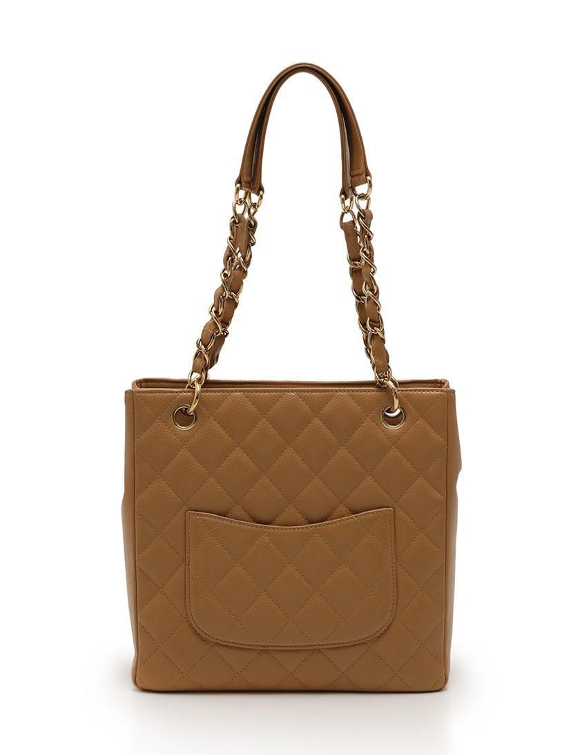 21620726ab Lyst - Chanel Matorasse Tote Bag Chain Caviar Skin Beige Gold ...
