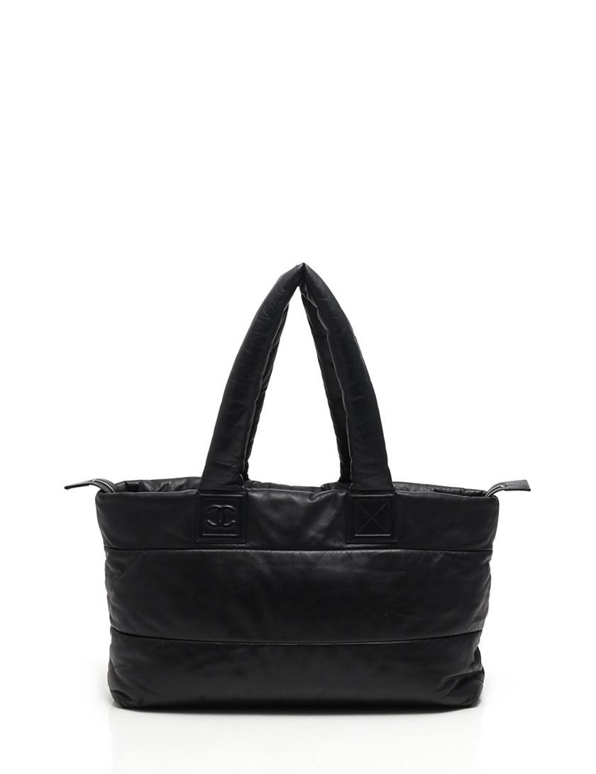 d387a9323343 Lyst - Chanel Coco Cocoon Large Tote Tote Bag Lambskin Black in Black